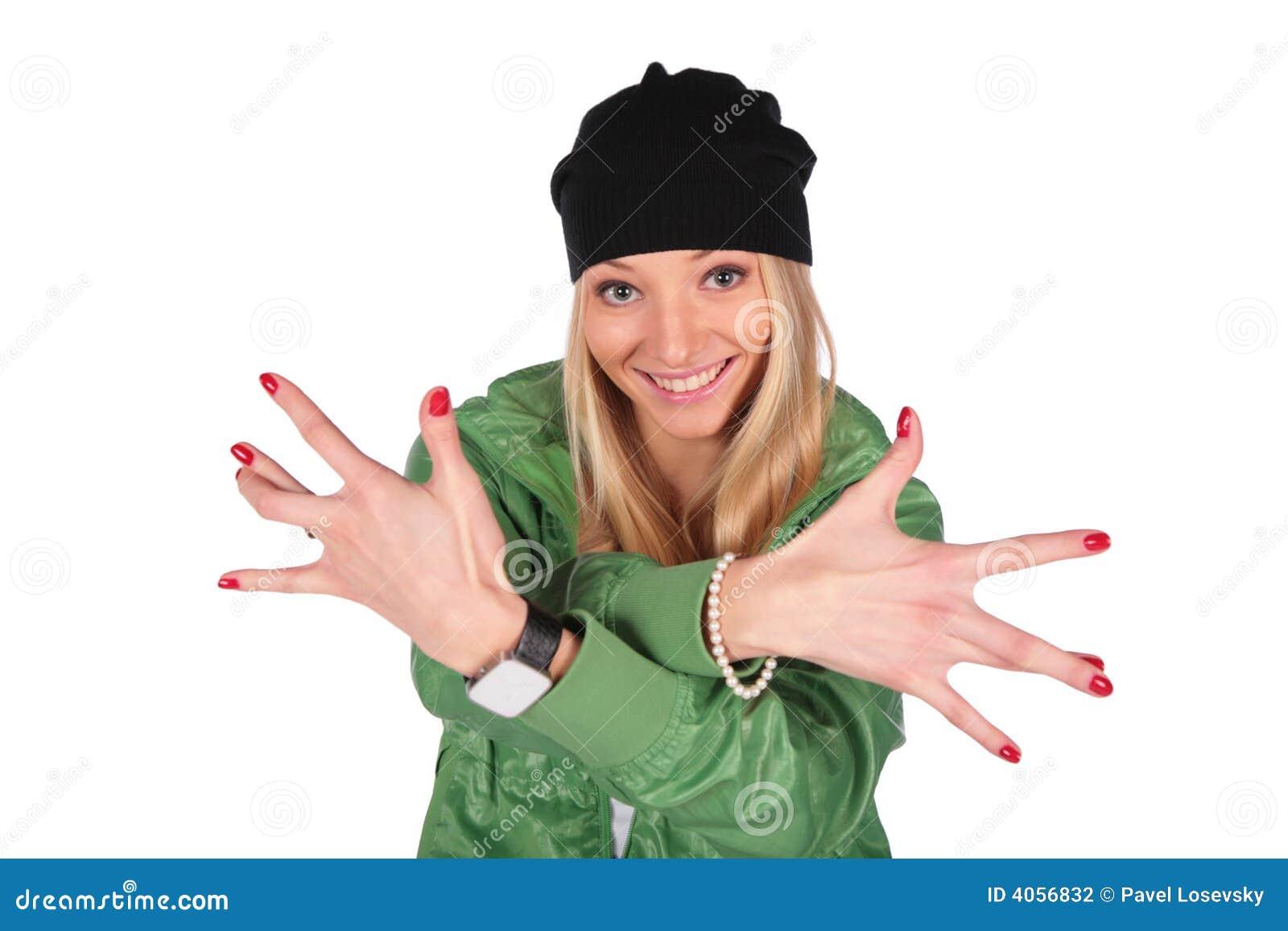 Heup-hop meisjesvingers wijd