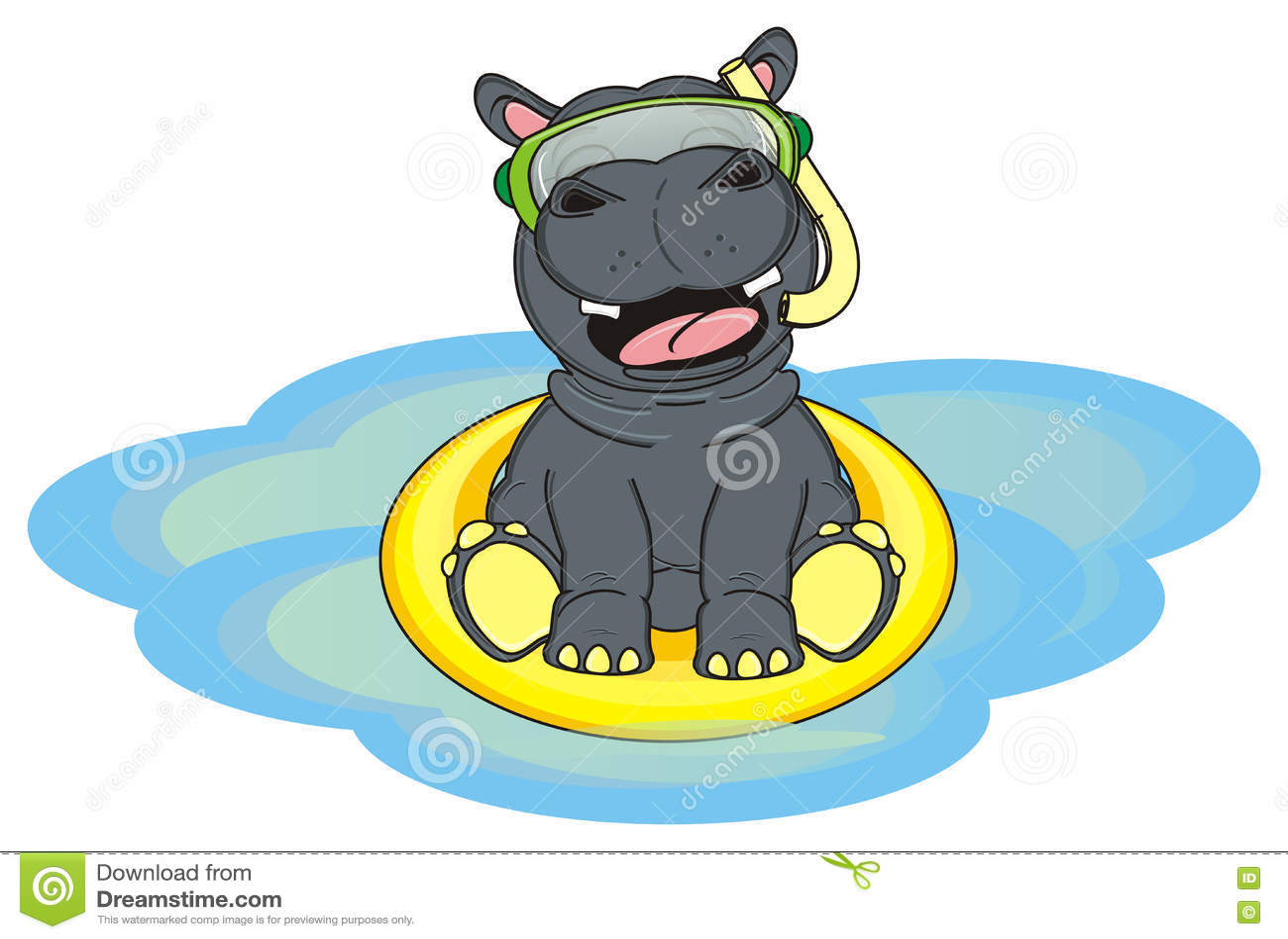 Heure Heureuse Pour Lhippopotame Heureux Illustration Stock
