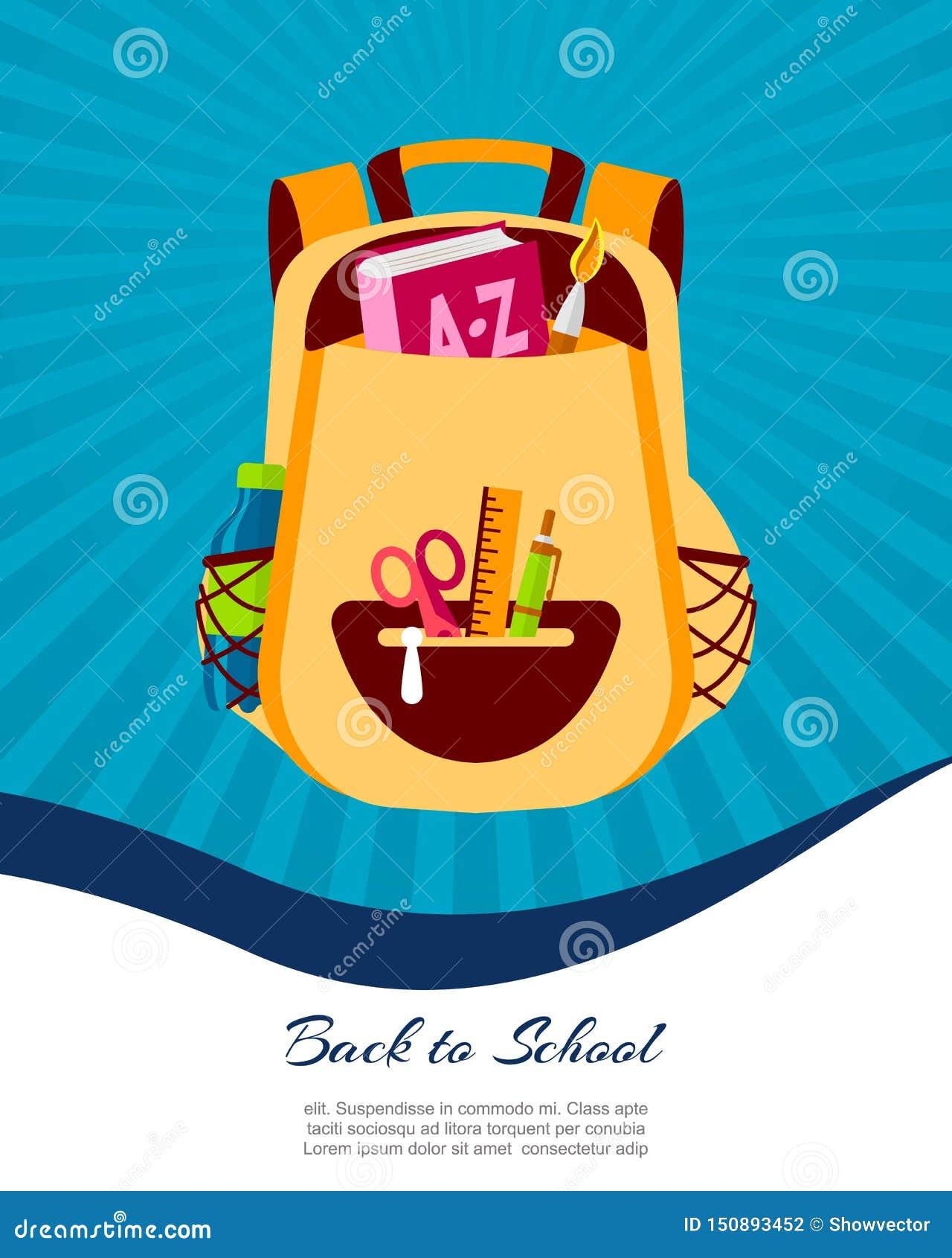Heureux de nouveau à l affiche d école ou à la bannière de Web, illustration colorée de sac de sac à dos d enfant Bagages d étudi