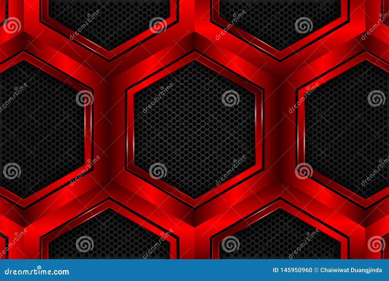 Hexágono vermelho metálico na malha preta como o fundo