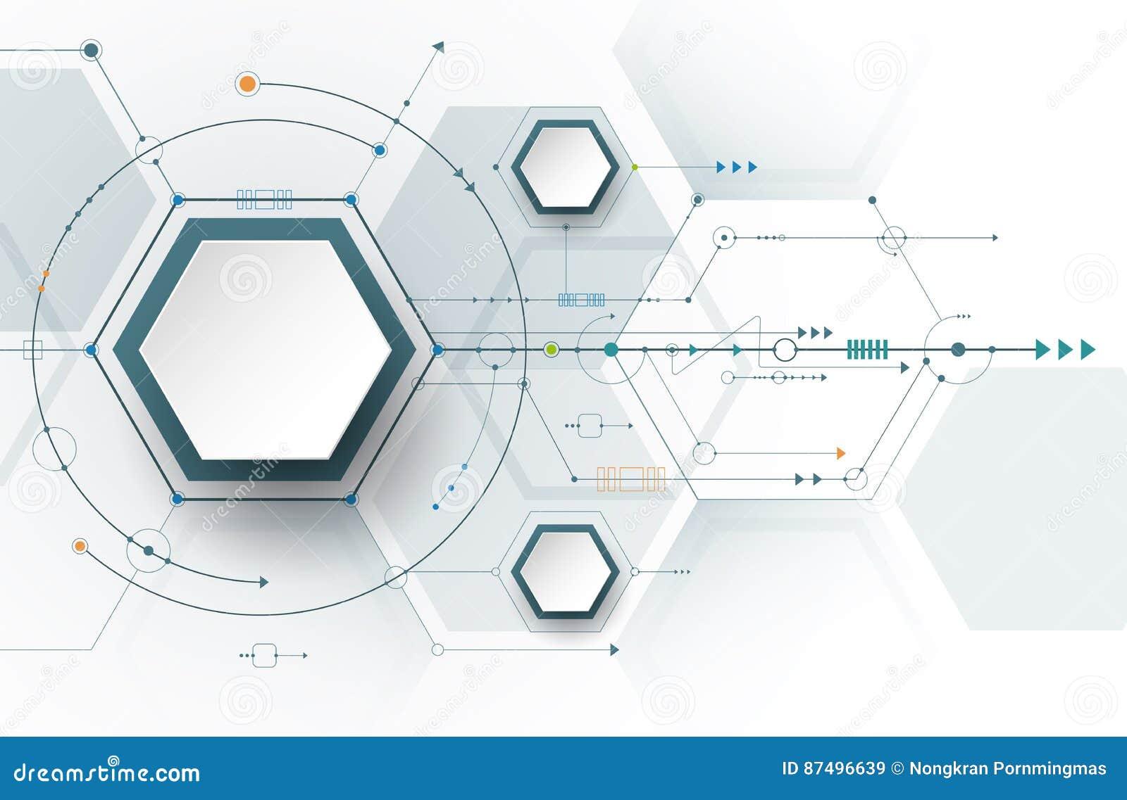 Circuito Y : Hexágonos de la placa de circuito y del papel d del ejemplo del