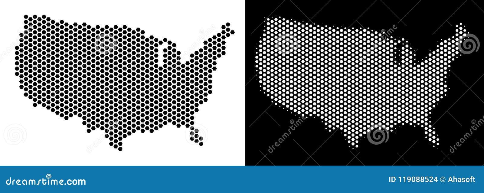 USA Map Hexagon Scheme stock vector. Illustration of mosaic ...