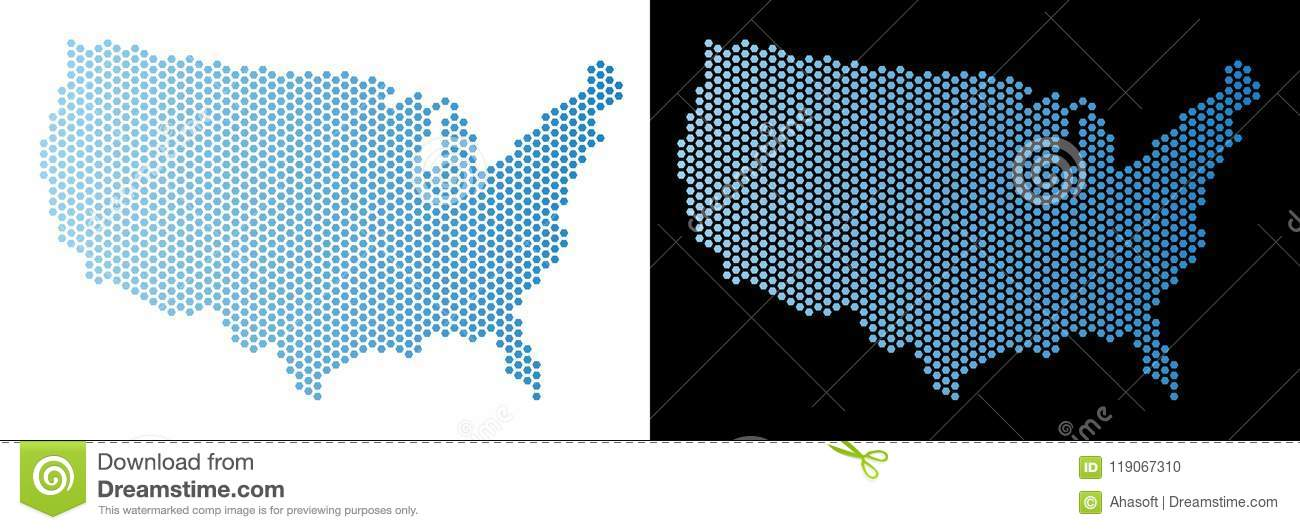 USA Map Hex Tile Abstraction Stock Vector - Illustration of ...