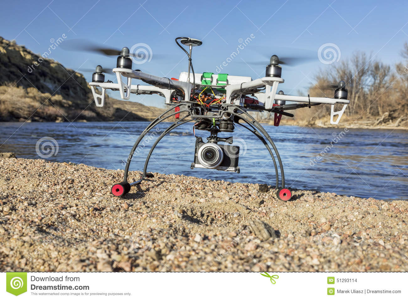 Hexacopter Drone With Camera Landing Editorial Stock Image