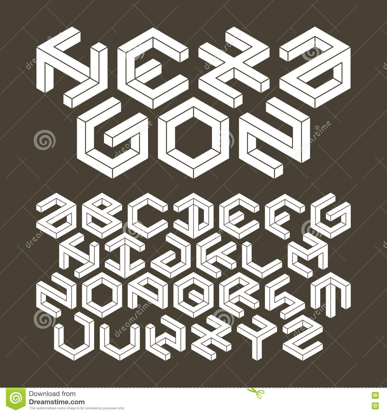 Hexagon alphabet made of impossible shapes