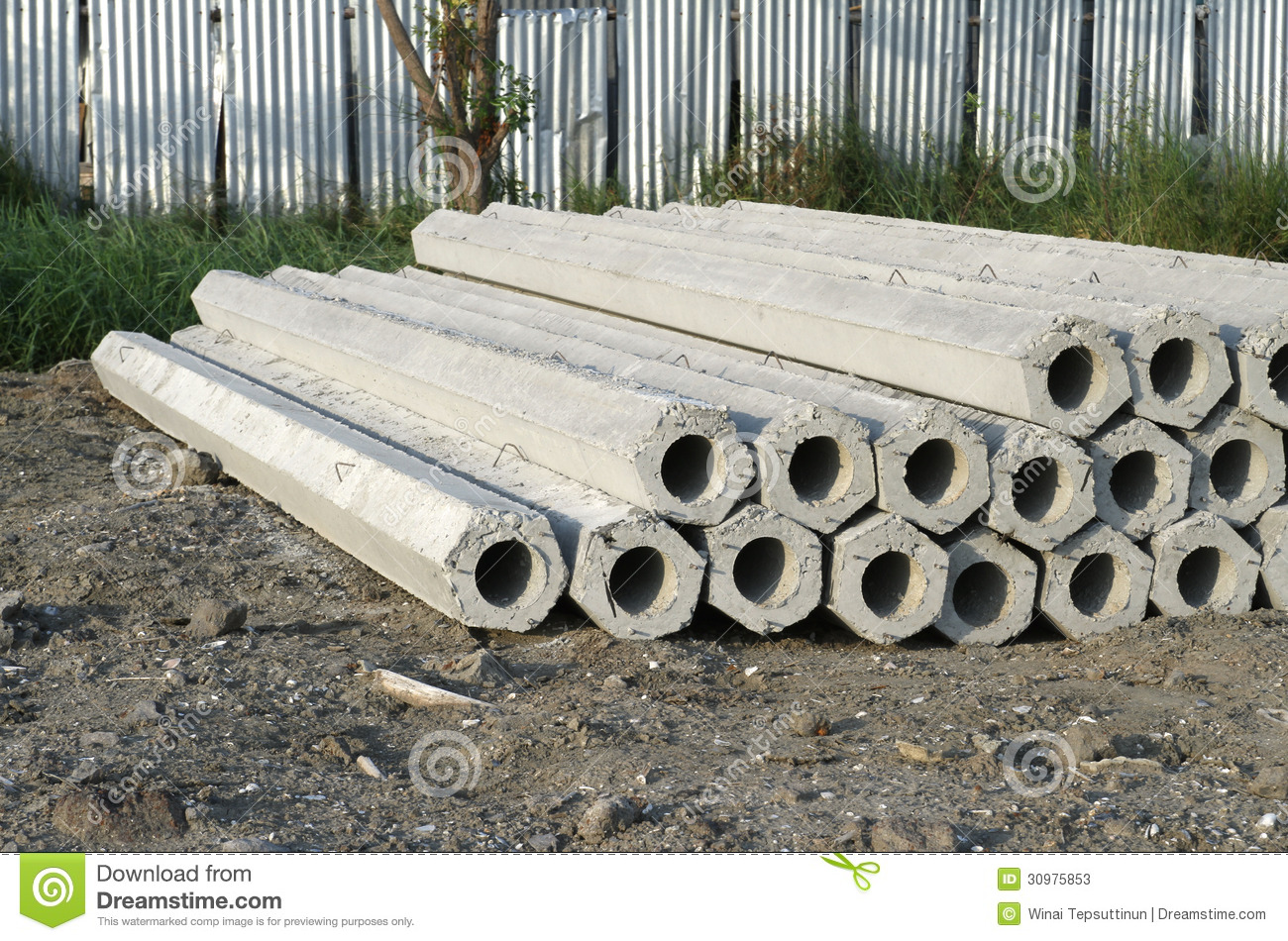 Concrete Pole Design : Hexagon concrete pole stock image of site stack