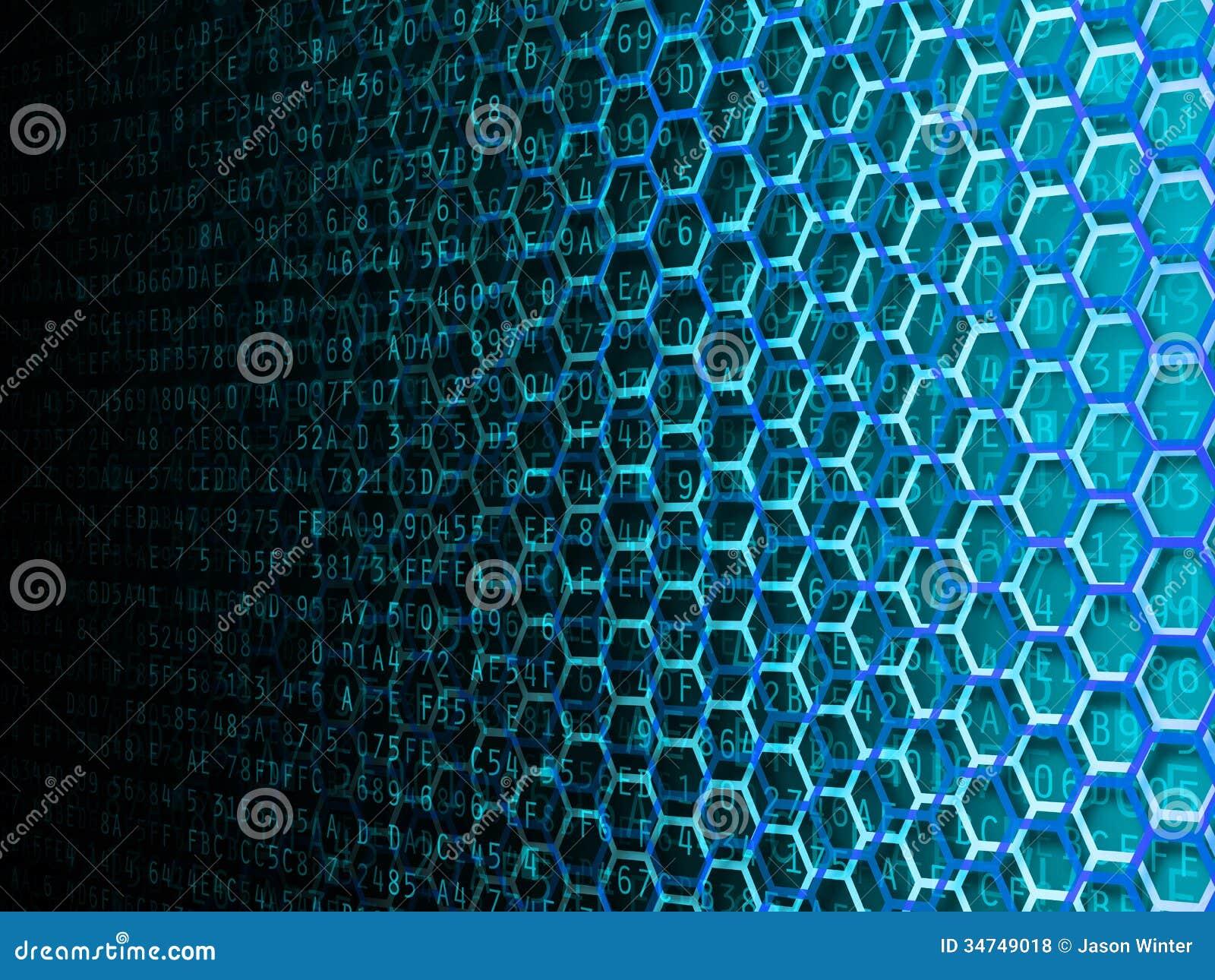 hexagon data background royalty free stock photos