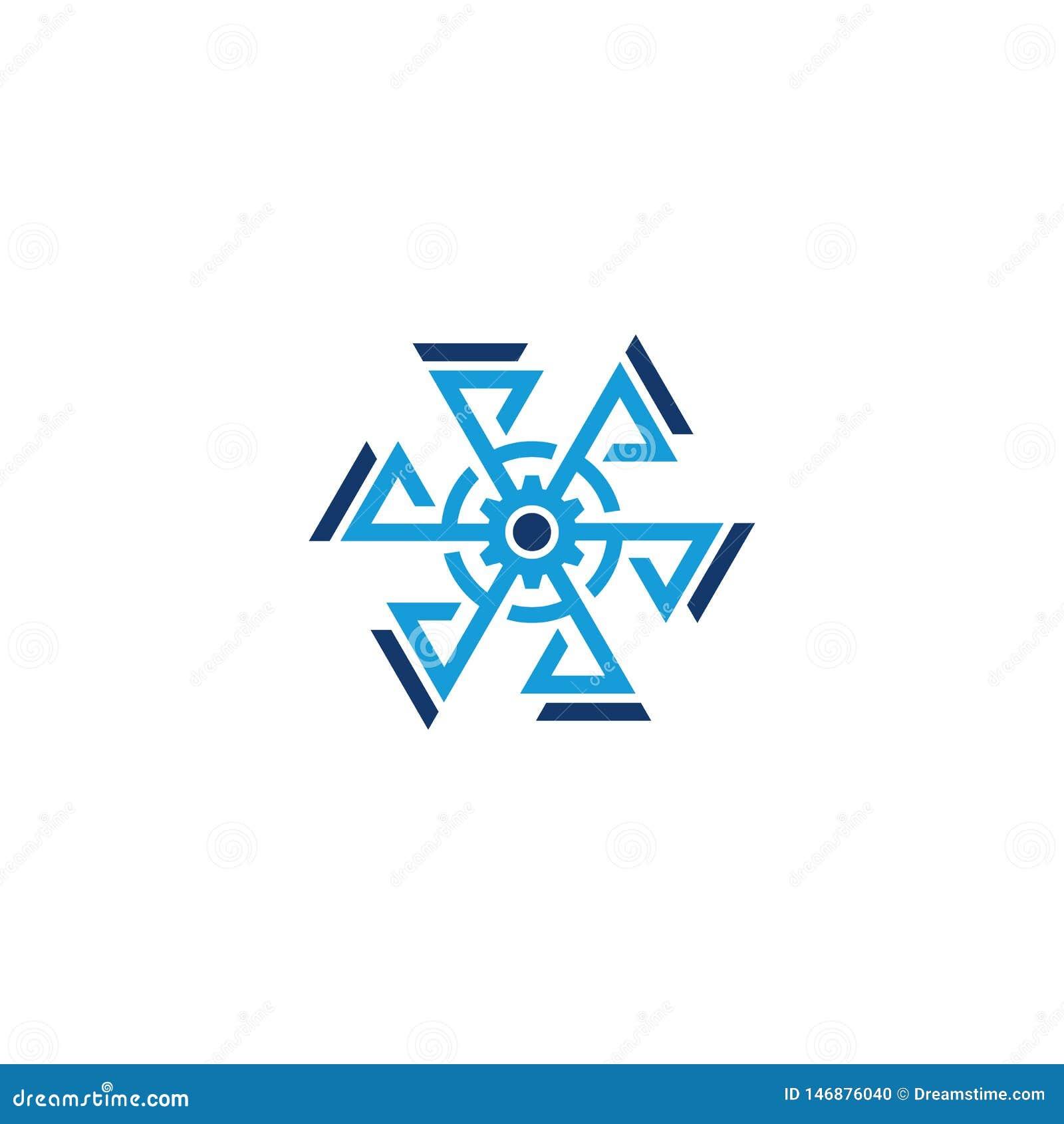 Hexagon gear arrow business logo