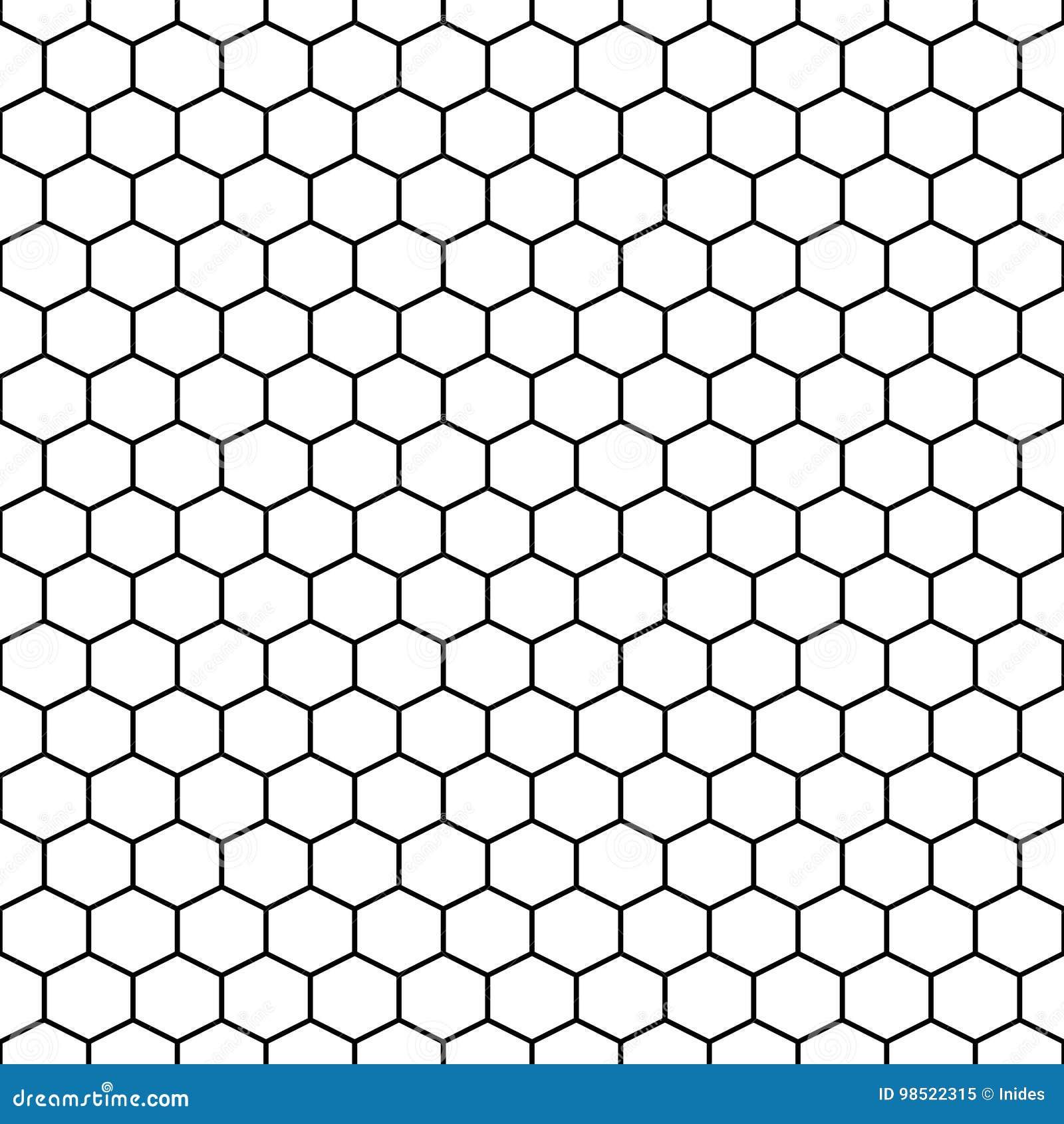 Hexagon Grid Cells Vector Seamless Pattern  Stock Vector