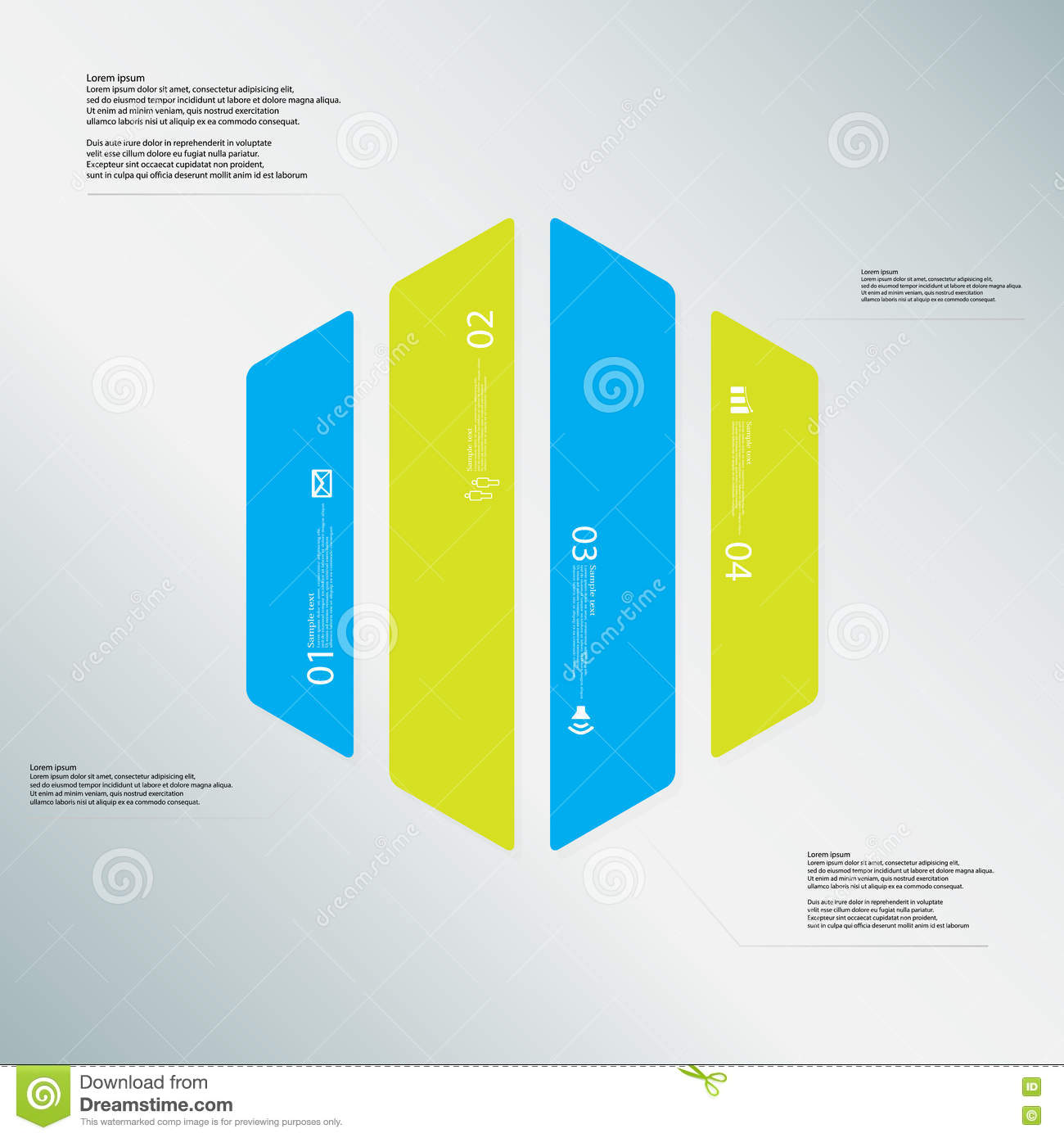 Hexagon Illustration Template Consists Of Four Color Parts On Light ...