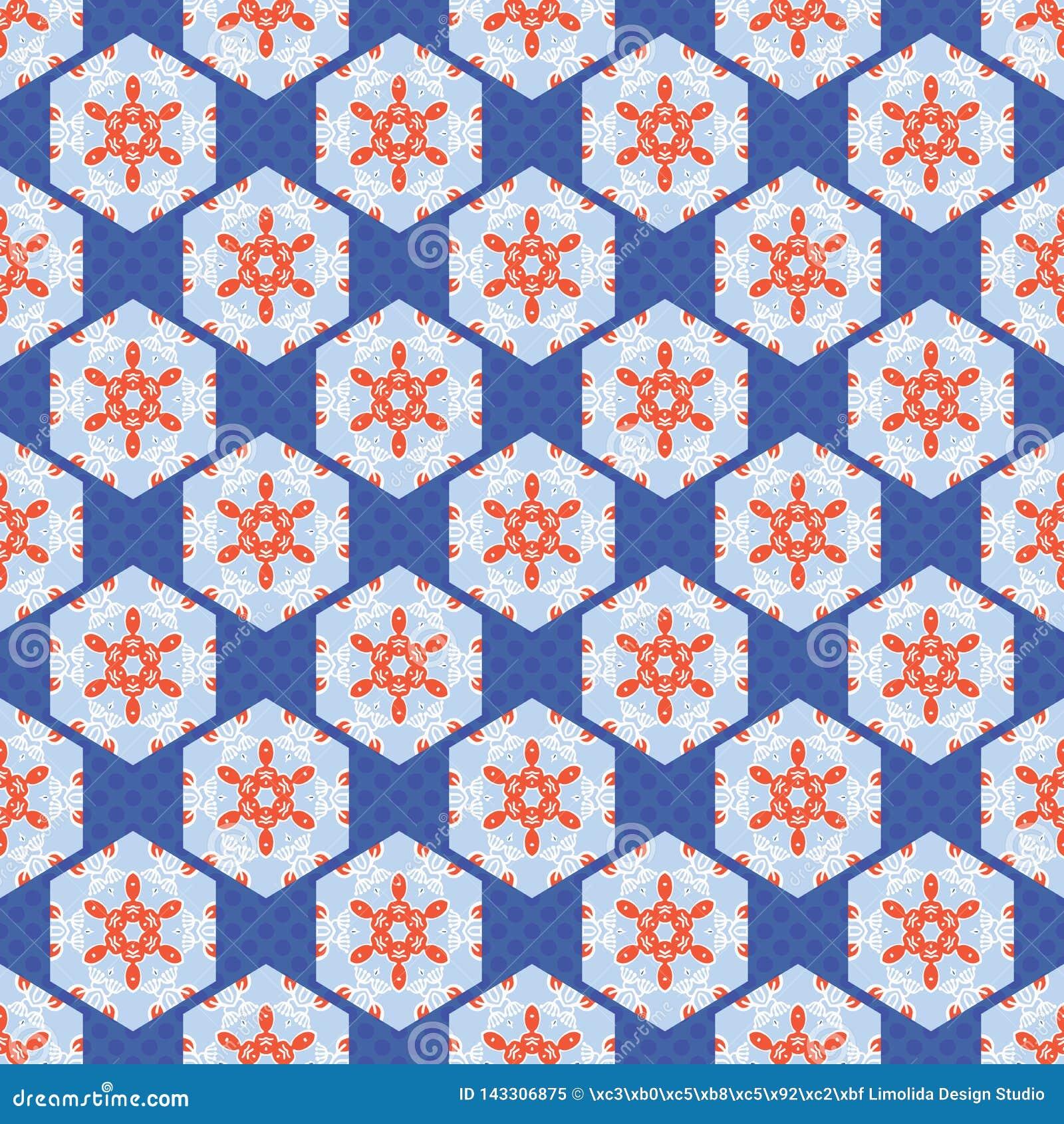Hexagon Lapwerk Dot Seamless Vector Pattern van de jaren  50stijl Volksart quilt