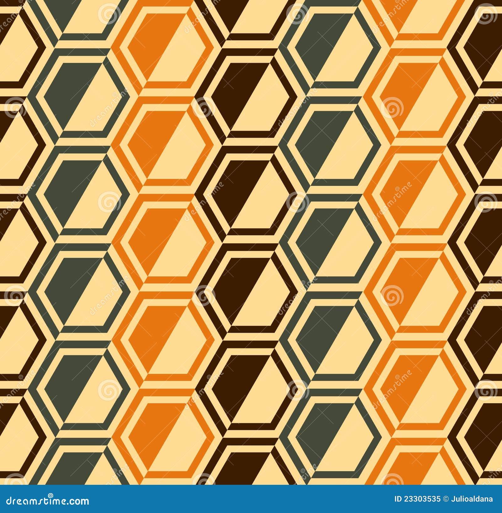 Hexagon Naadloos Patroon   Retro Kleuren   Vector Royalty vrije Stock Foto   Afbeelding  23303535