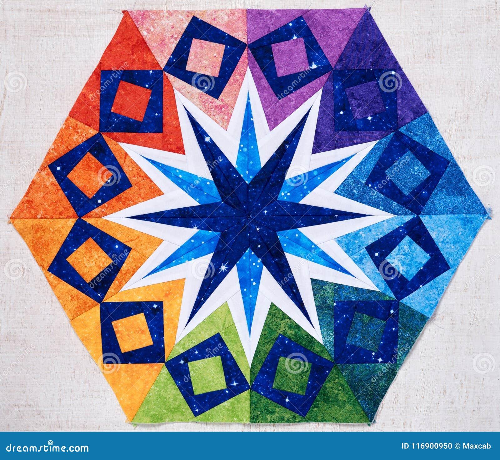 Hexagon patchwork block like kaleidoscope, detail of quilt