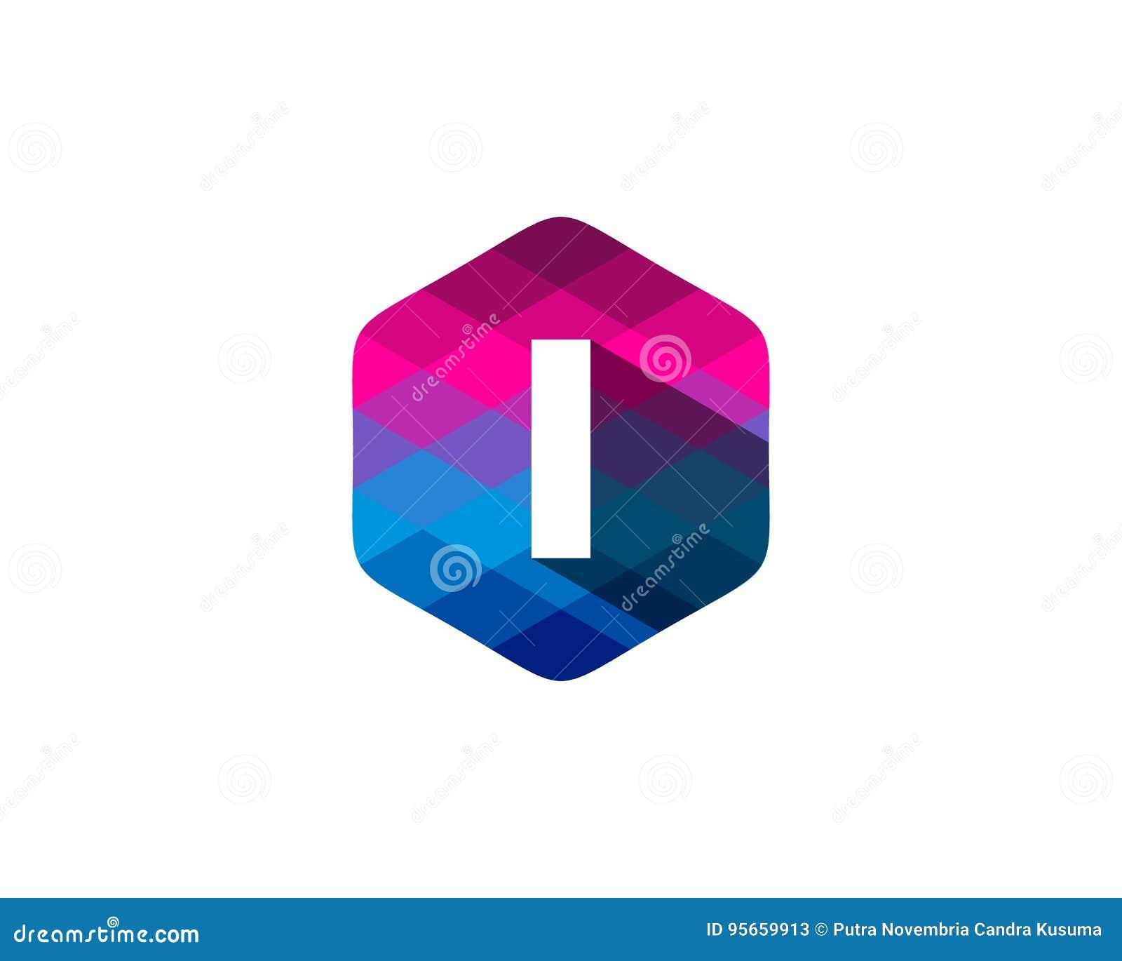 Hexagon Pixel Letter Shadow Icon Logo Design Element