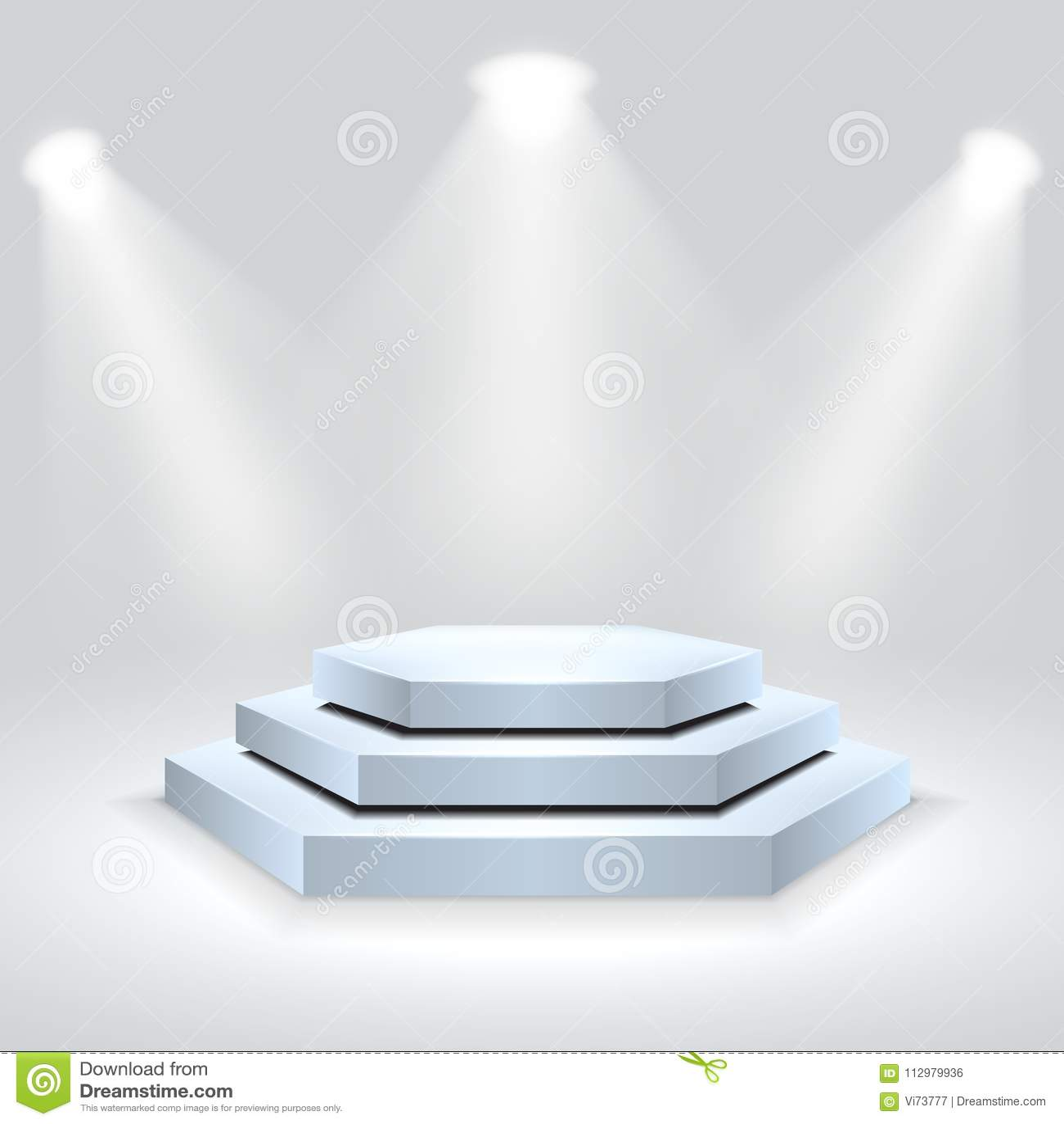 Hexagon podium illuminated by spotlights. Empty ceremony pedestal. Vector illustration.