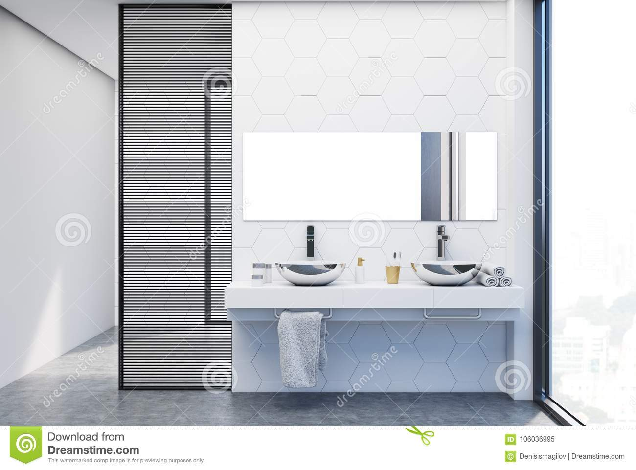 Hexagon Tile Bathroom, Double Sink Close Up Stock Illustration ...