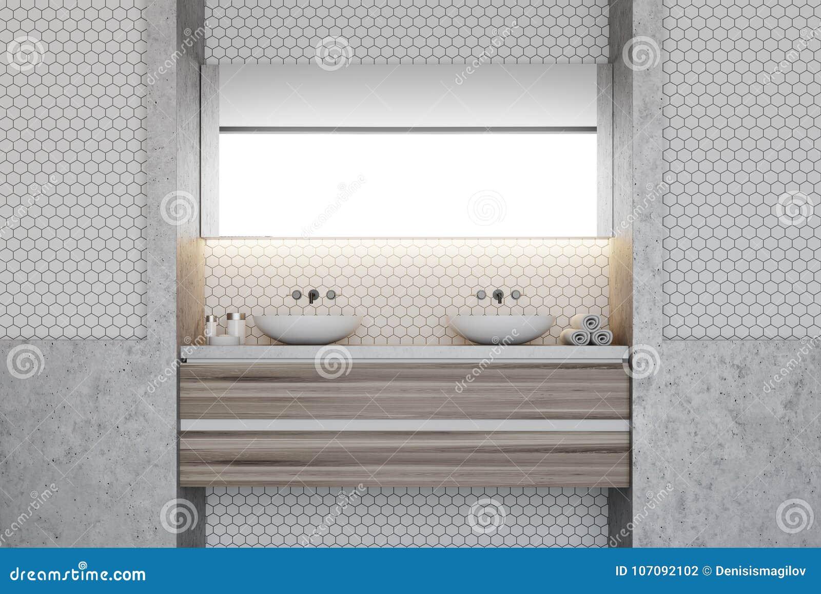 Hexagon Tile Bathroom, Double Sink Stock Illustration - Illustration ...