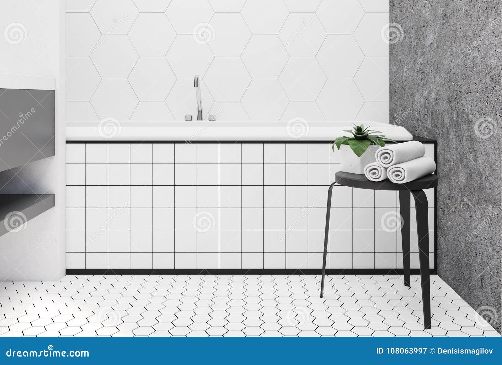 Hexagon Tile Bathroom, Tub Close Up Stock Illustration ...