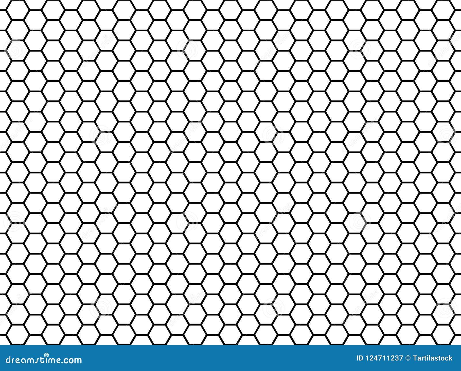 Hexagonal cell texture. Honey hexagon cells, honeyed comb grid texture and honeycombs fabric seamless pattern vector