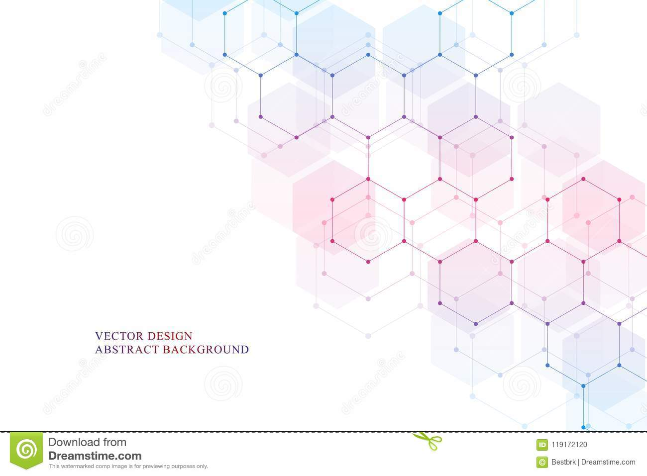 Hexagonal molecular structure for medical, science and digital technology design. Abstract geometric vector background.