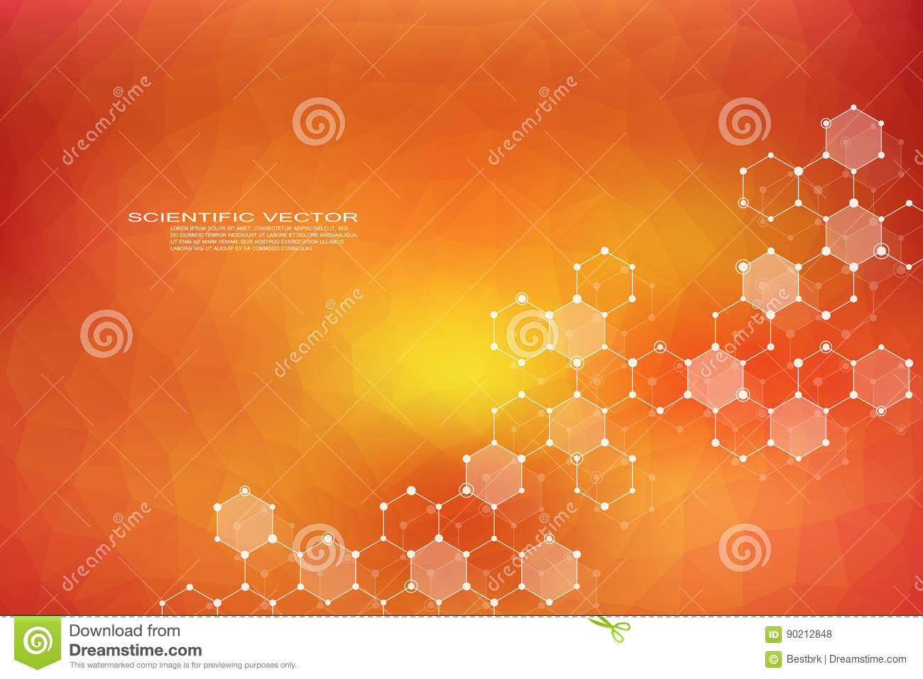 Hexagonal structure molecule dna of neurons system genetic and chemical compounds medical or scientific background