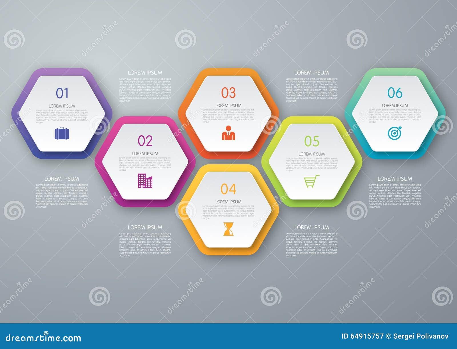 Hexagone de cercle de vecteur infographic