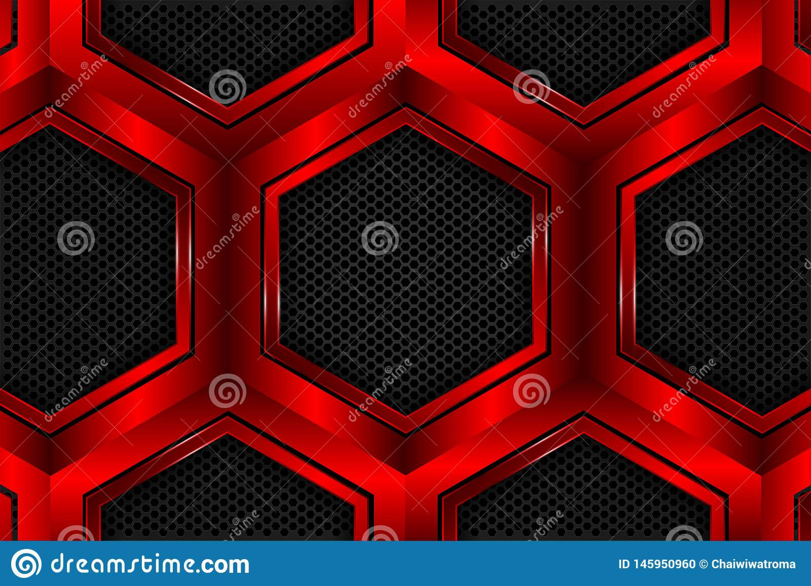 Hexagone rouge métallique sur la maille noire comme fond