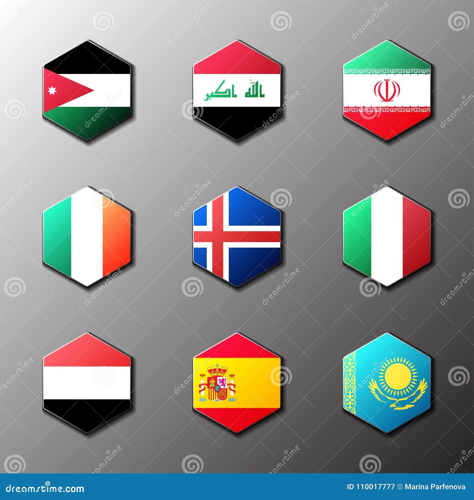 Hexagonikonensatz Flaggen Der Welt Mit Offiziellem Rgb Farbton Und