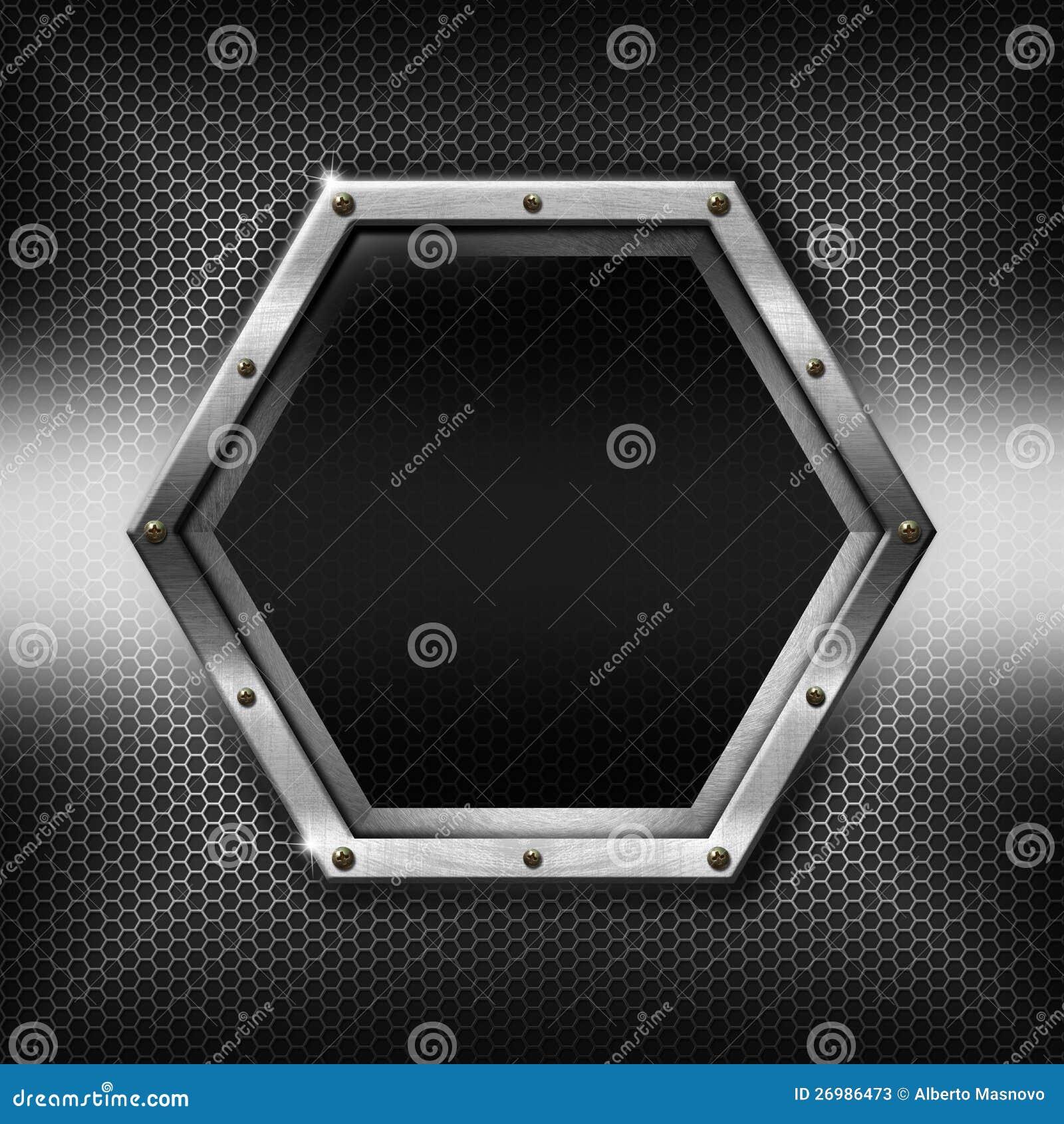Hexagons Metal Template With Hexagonal Metal Frame Stock ...