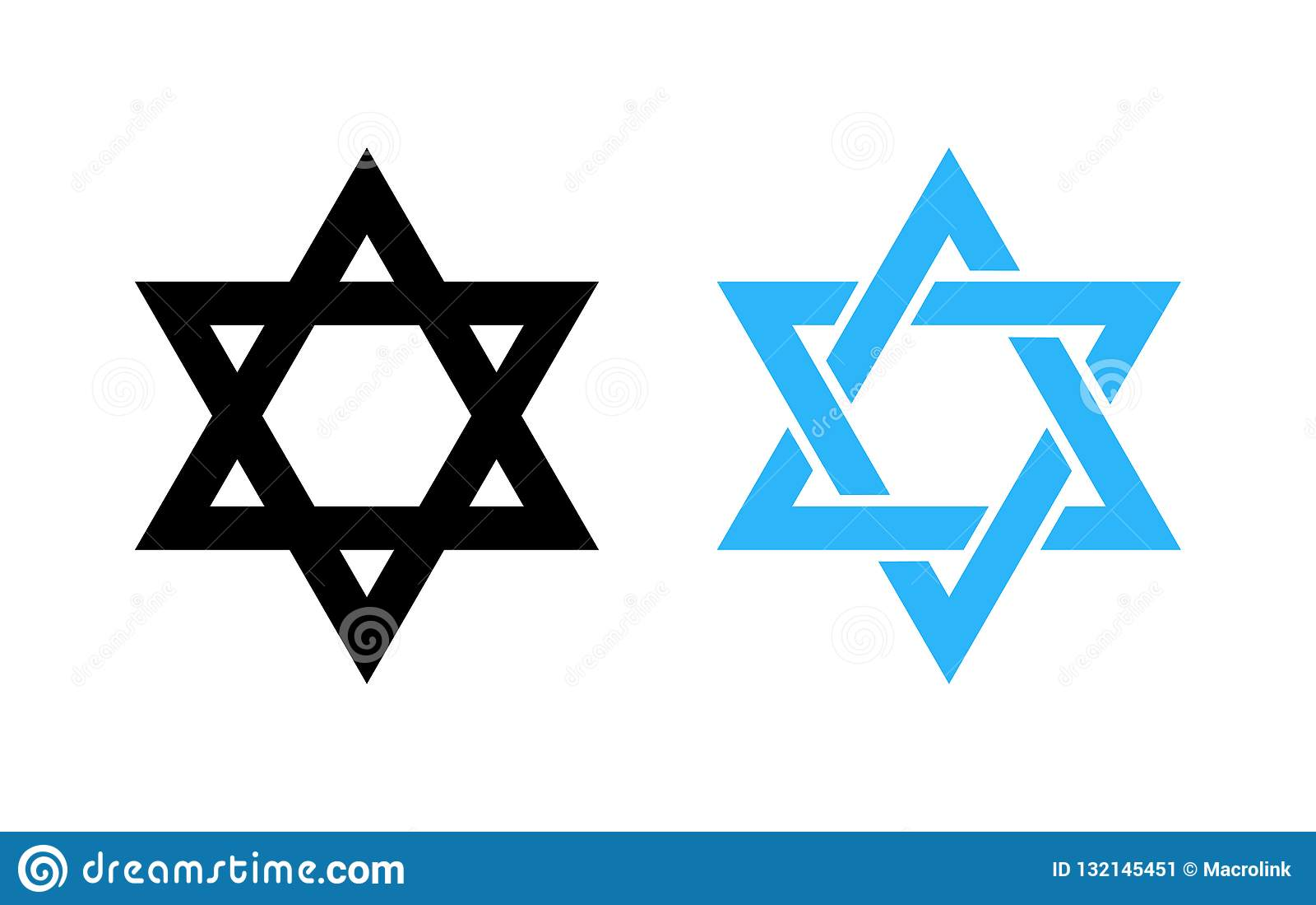 Hexagram icône noire et bleue de David Star - de symbole religieux saint de l Israël