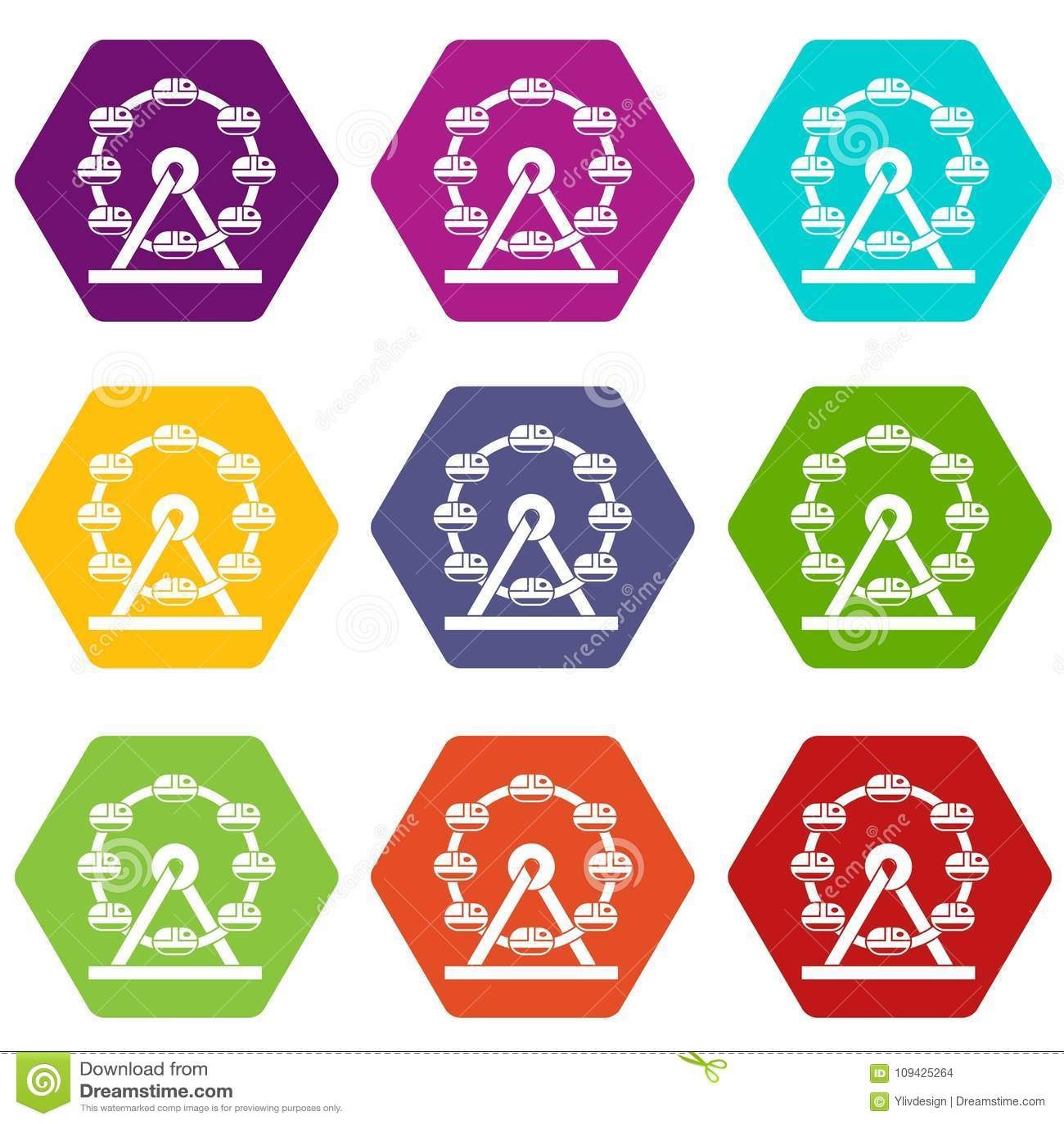 Hexahedron determinado del color del icono gigante de la noria