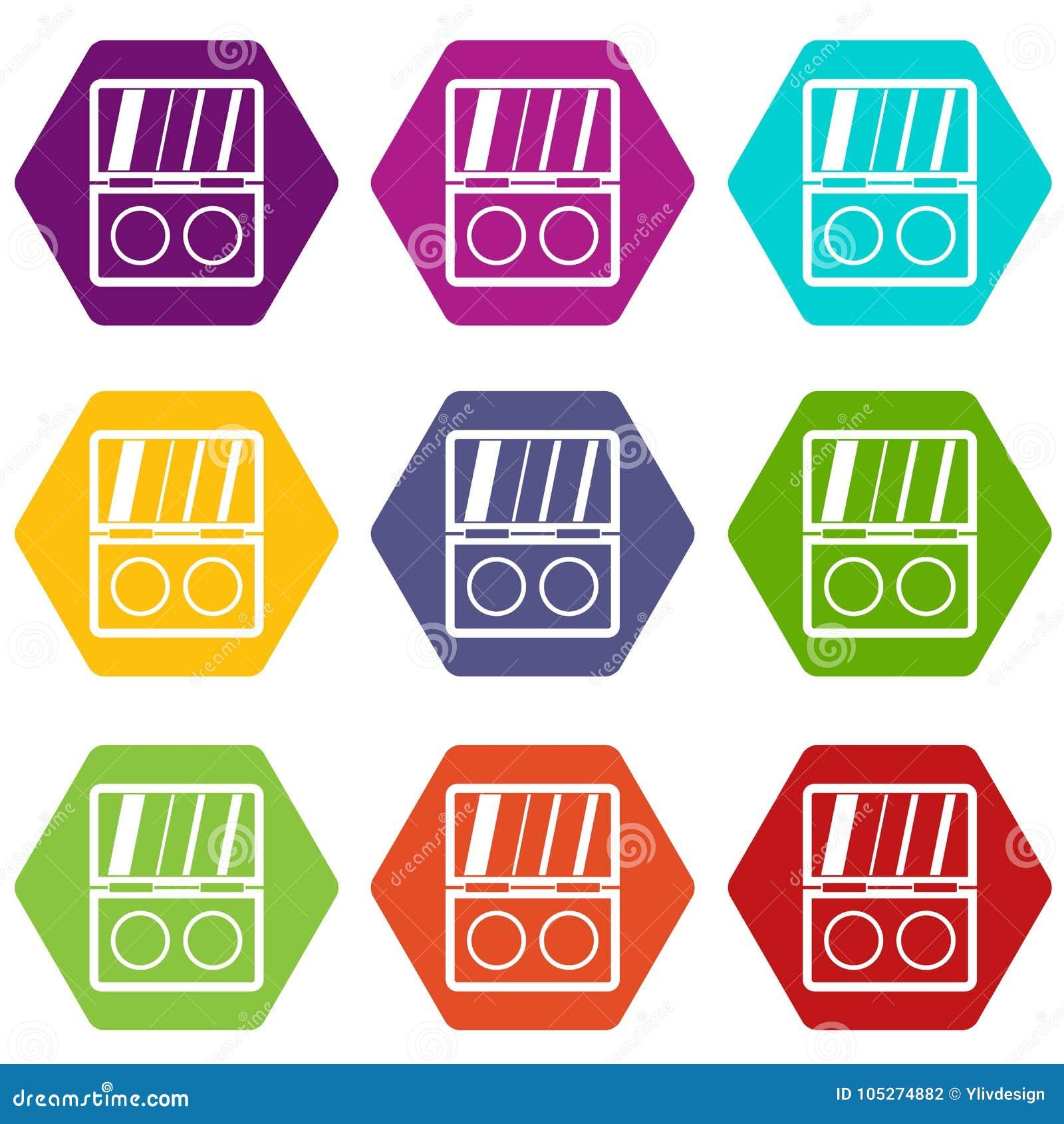 Hexahedron för färg för uppsättning för skuggasatssymbol