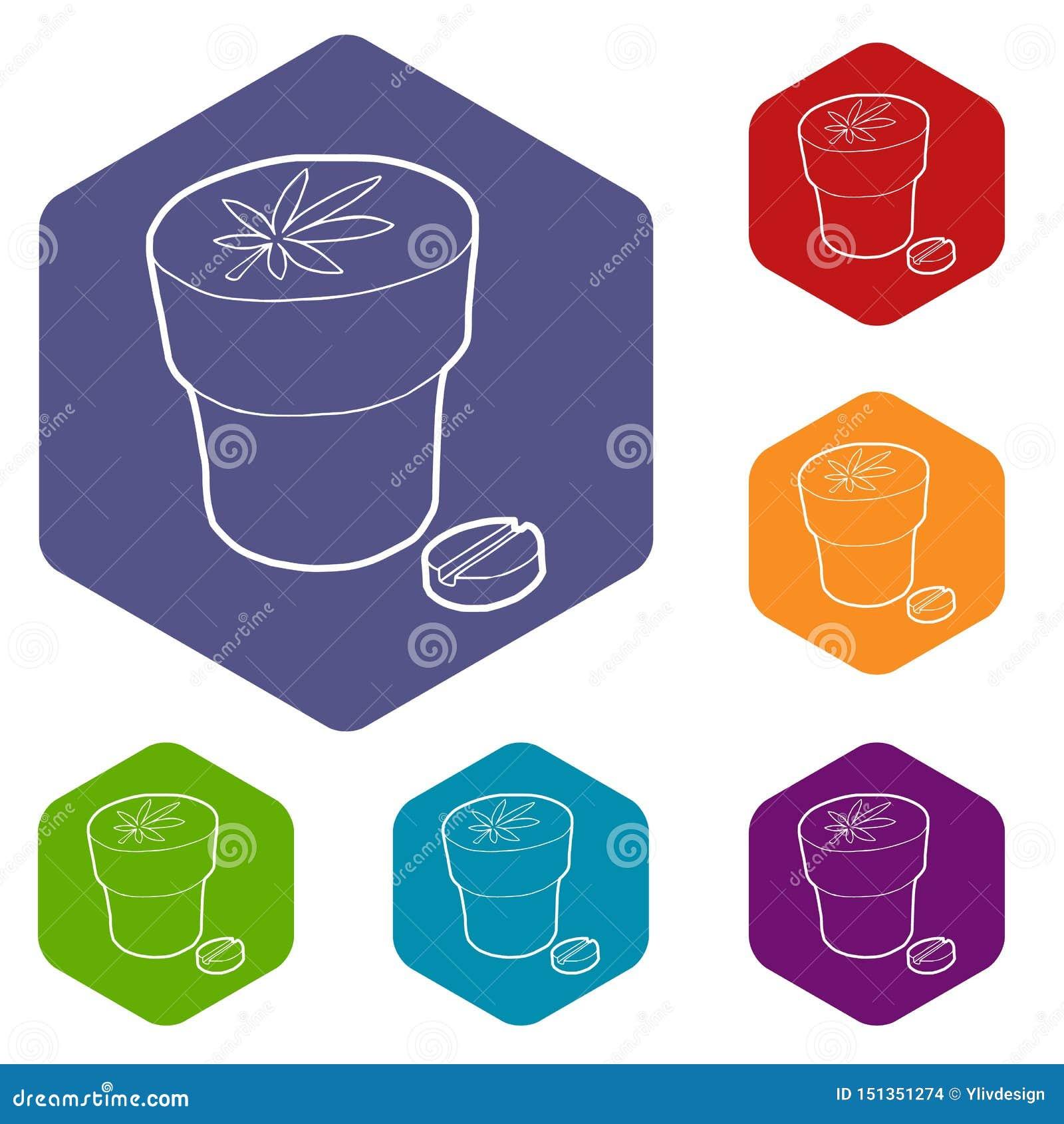 Hexahedron médico do vetor dos ícones da garrafa e da tabuleta da marijuana