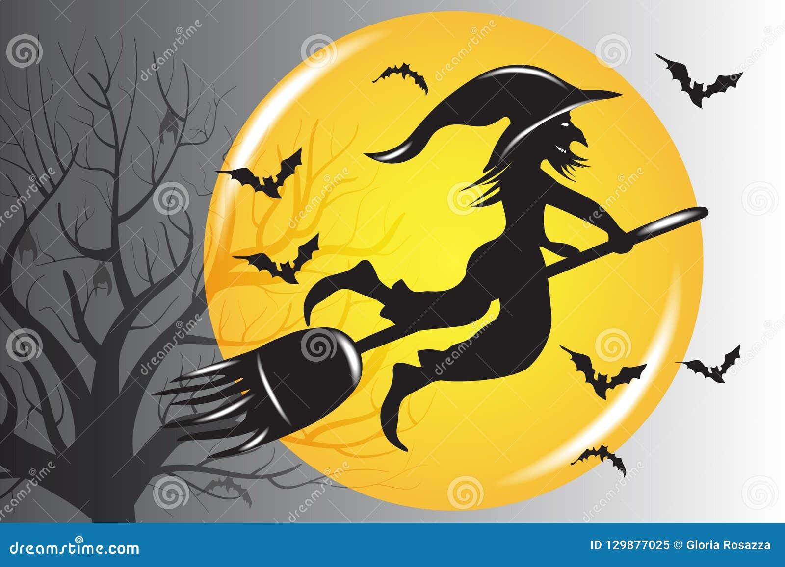 Hexen-Schattenbild-Vektor Halloweens hässlicher