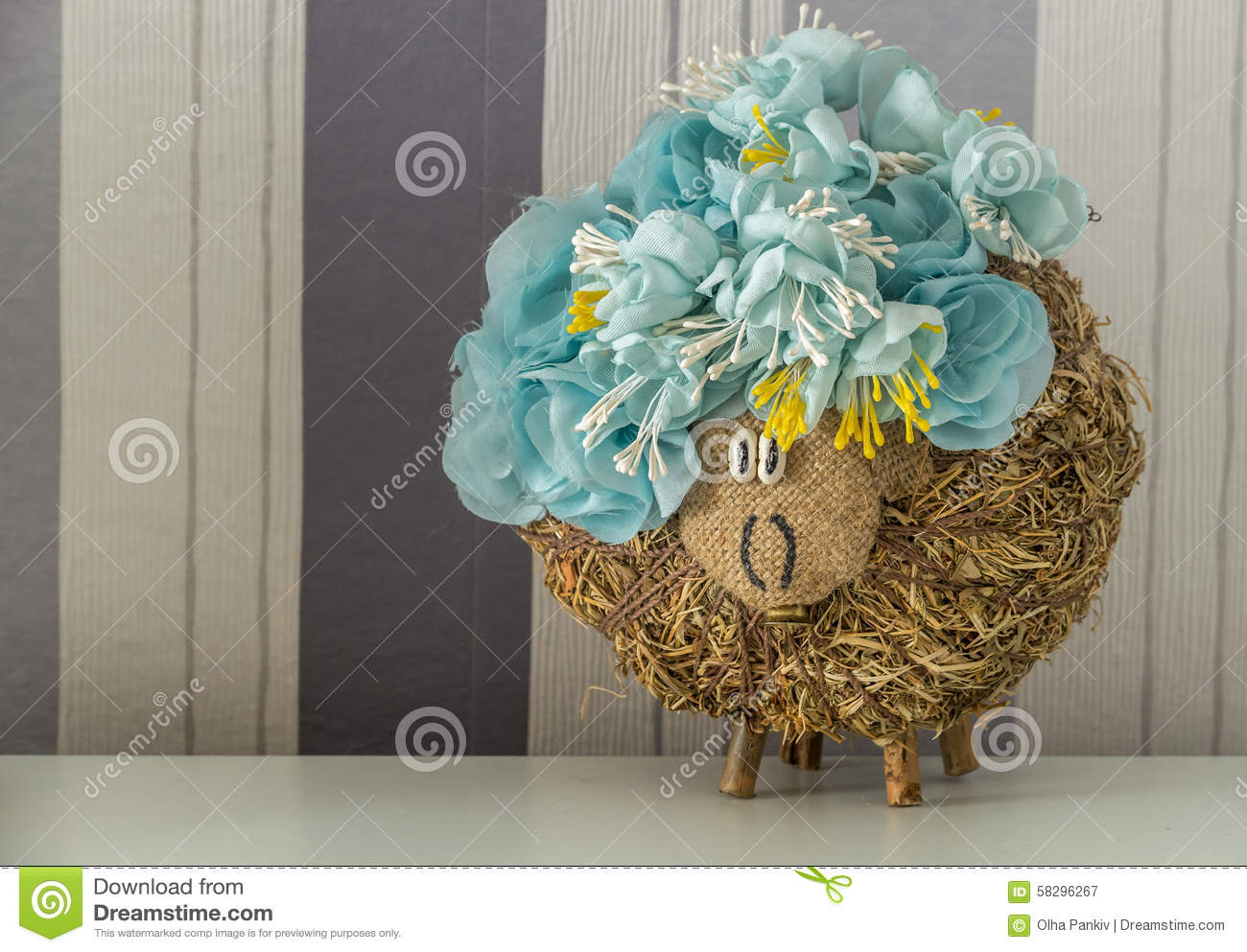 Hey sheep in crown of blue flowers stock photo image for How are blue roses made