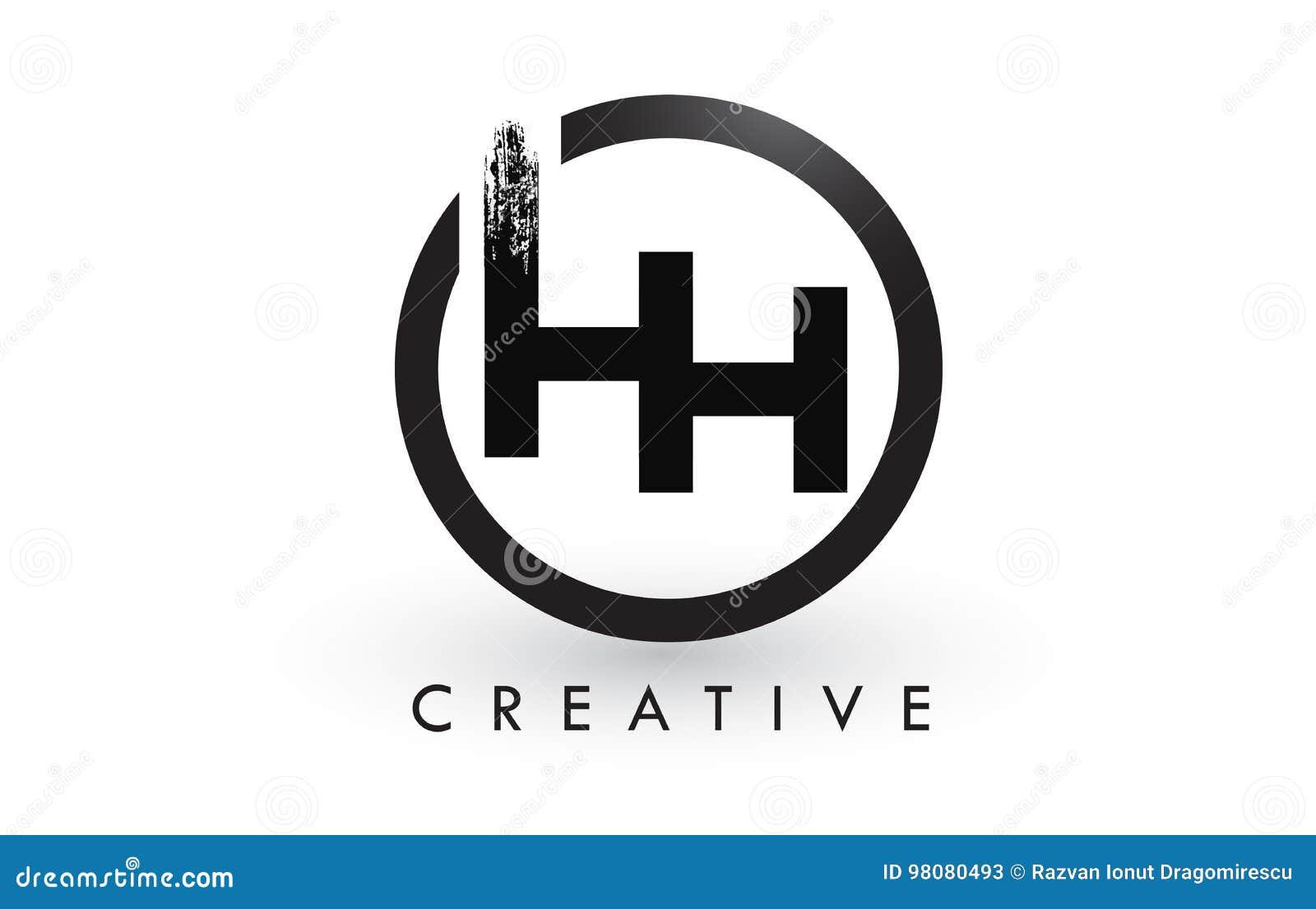 Hh Brush Letter Logo Design Creative Brushed Letters Icon Logo