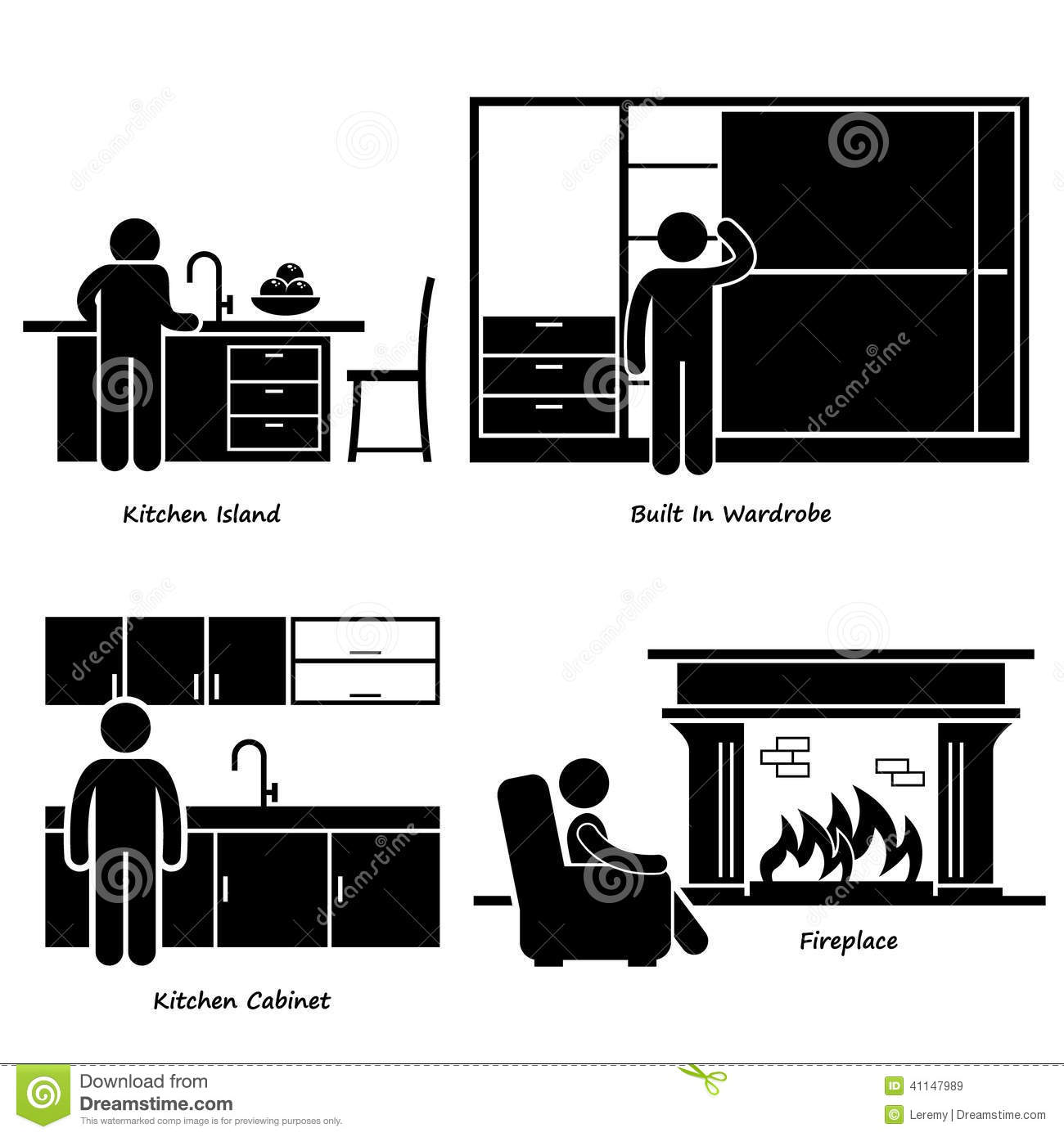 Cartoon Kitchen Furniture: HHome House Built-in Furniture Cliparts Stock Vector