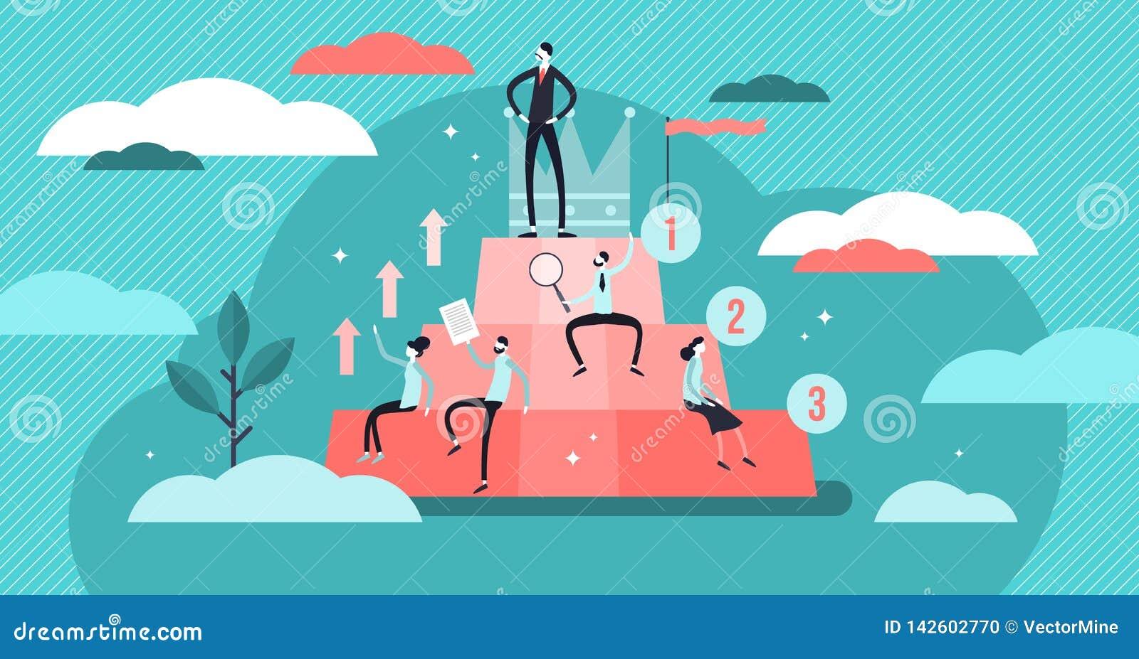 Hiërarchie vectorillustratie Het vlakke uiterst kleine concept van de personen sociale ontwikkeling
