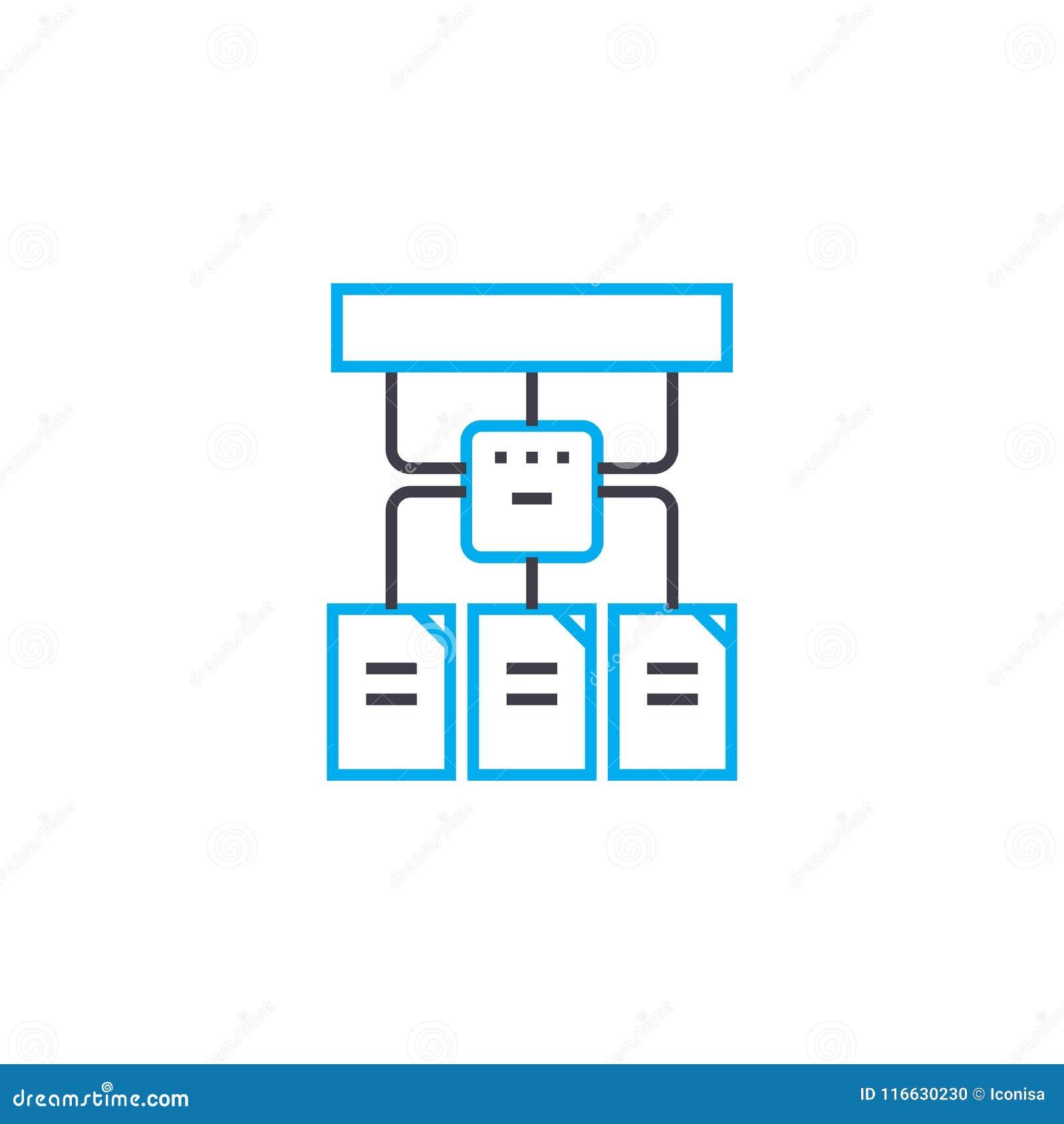 Hiërarchisch de slagpictogram van de structuur vector dun lijn De hiërarchische illustratie van het structuuroverzicht, lineair t