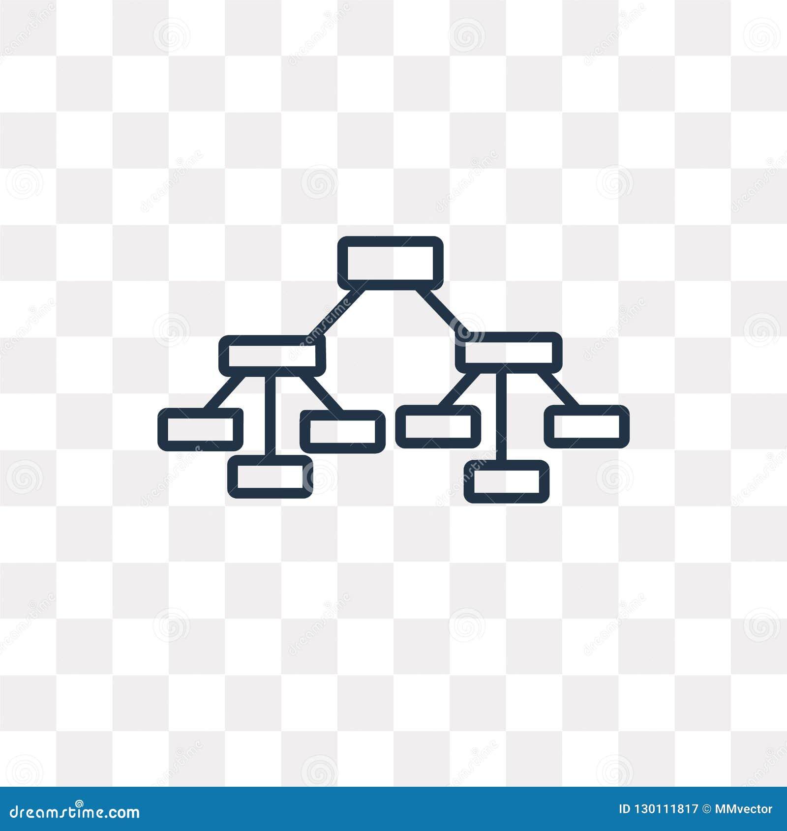 Hiërarchisch structuur vectordiepictogram op transparante backg wordt geïsoleerd