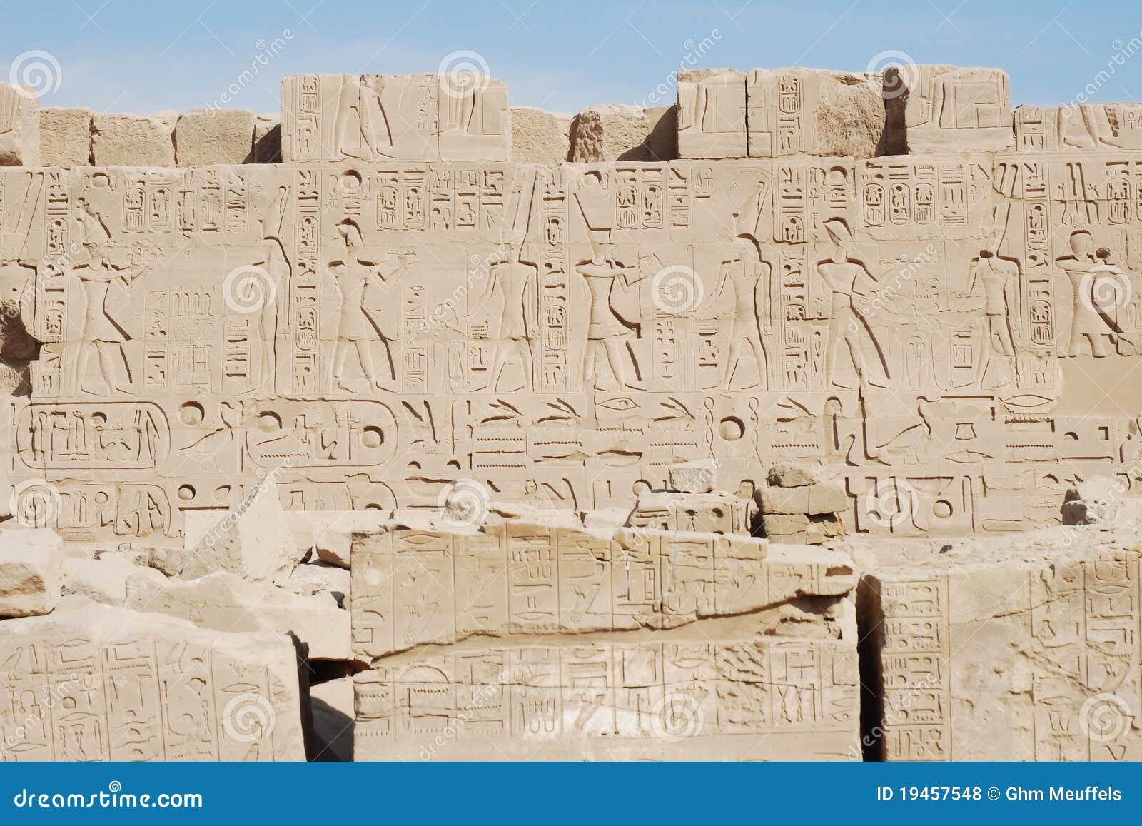 Hiërogliefen, Karnak Tempel, Luxor, Egypte