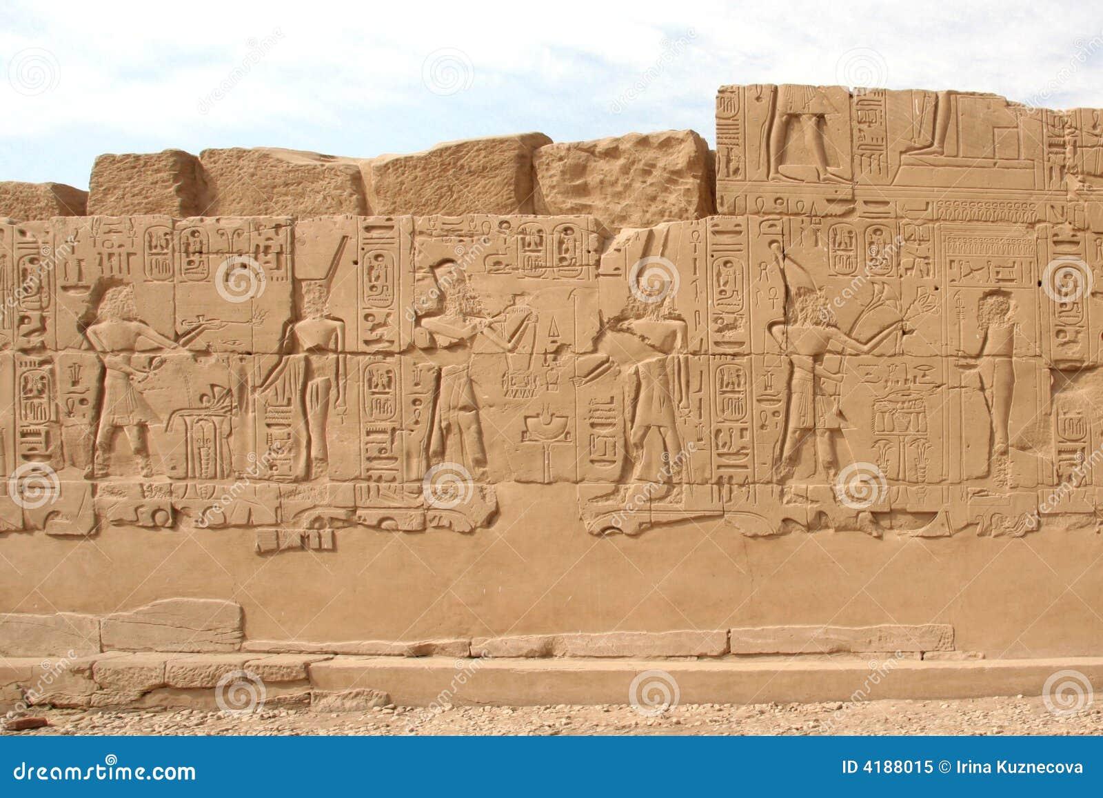 Hiërogliefen op de muur in de Tempel van Karnak