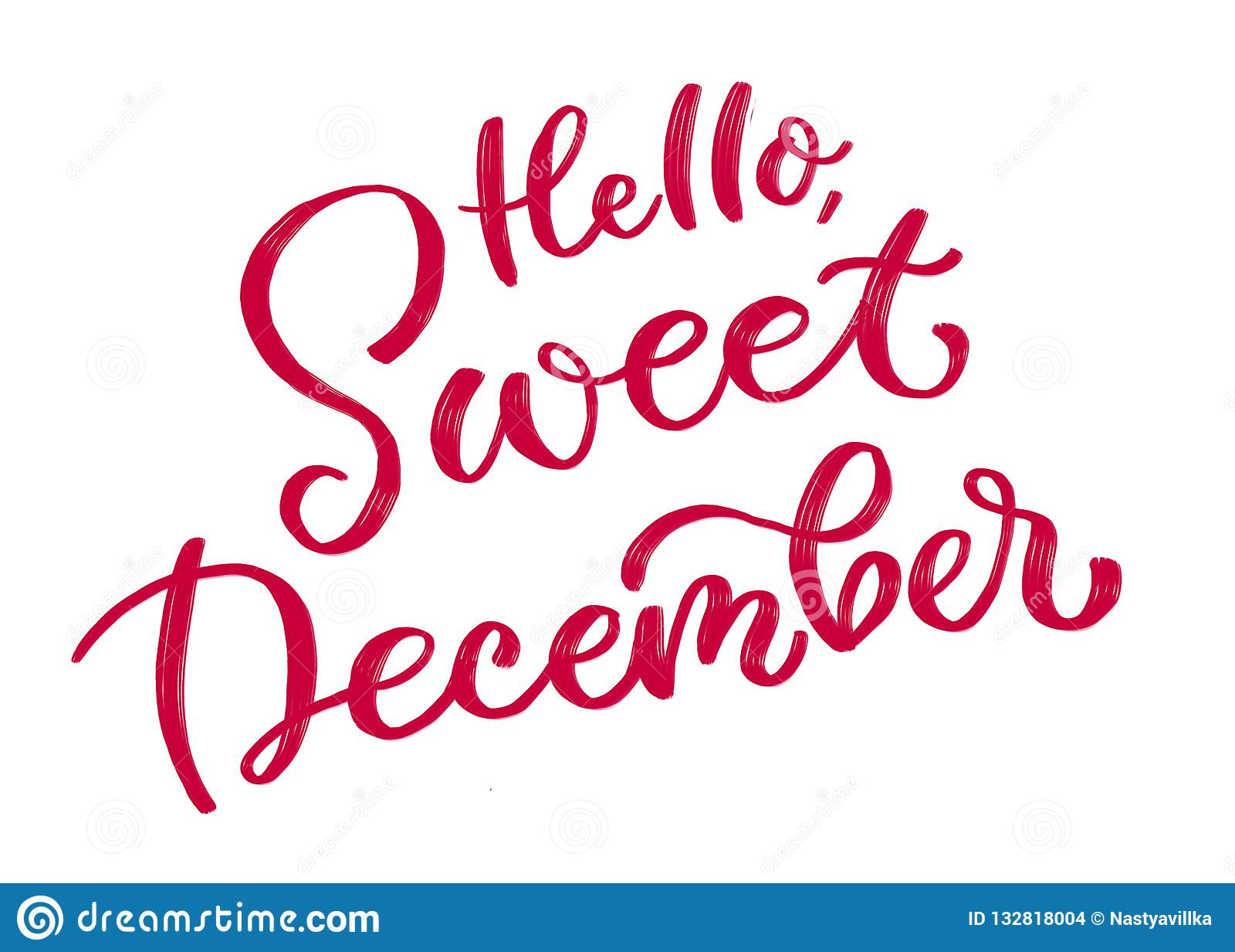 Hi, сладкий декабрь Каллиграфическая надпись в красном цвете