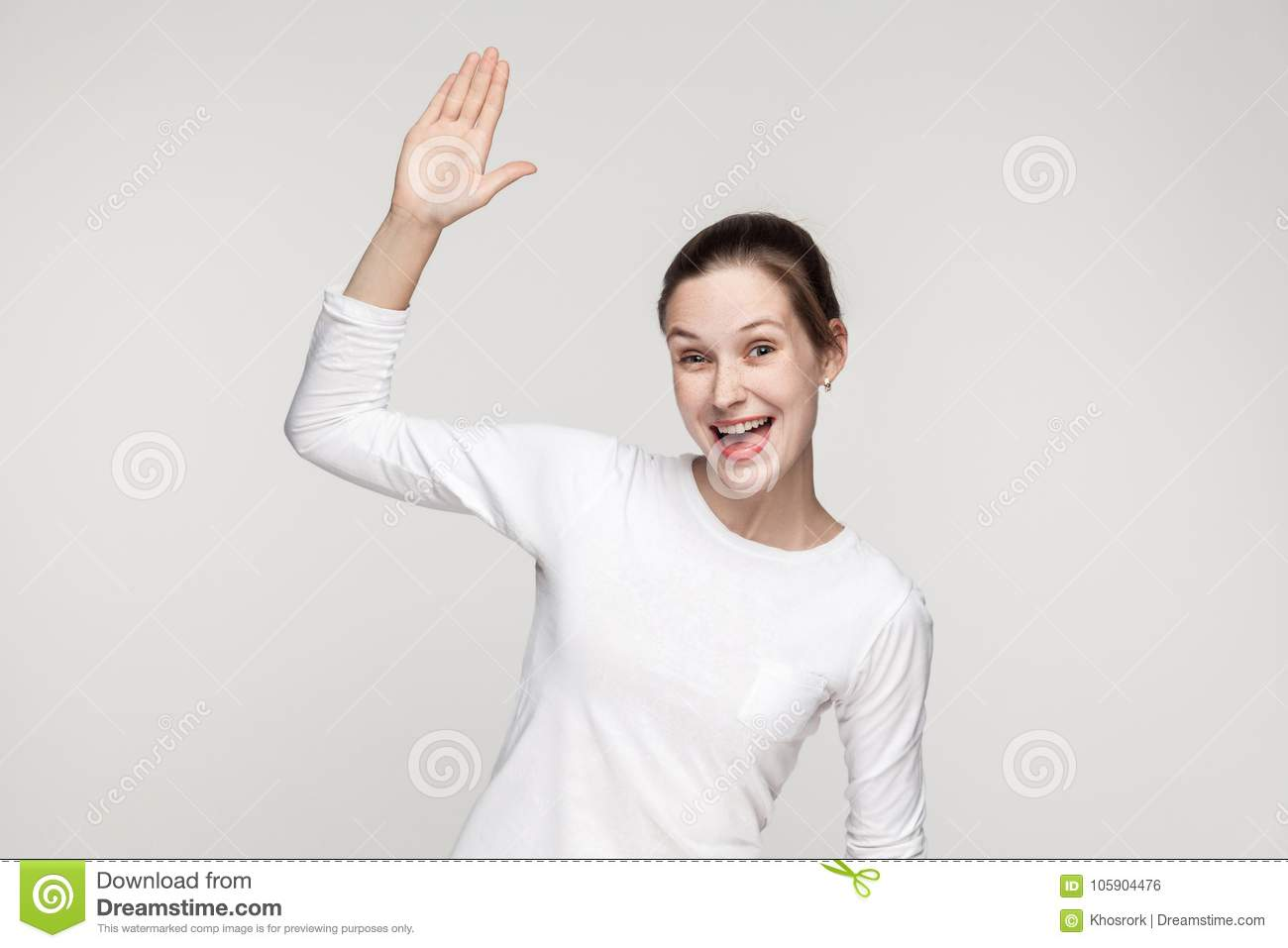 Hi! How are you? Happiness woman showing hello sign