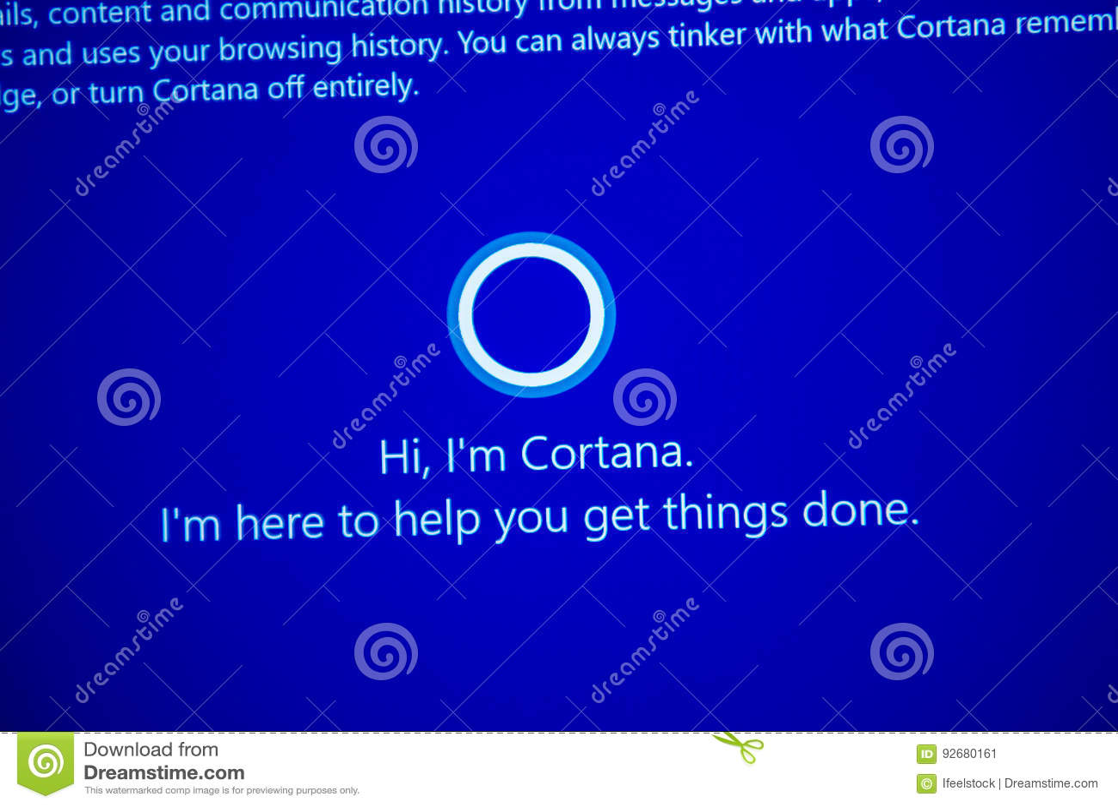 Hi, I`m Cortana -message On Computer Display During Windows 10