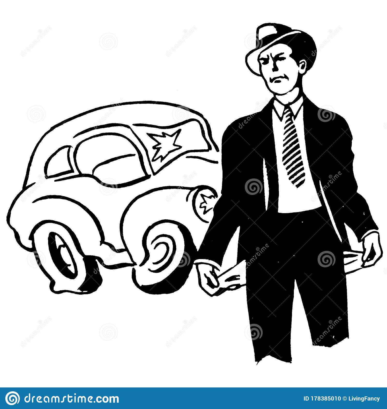 Vintage Clipart 265 Man In Accident With No Insurance Or Money Stock  Illustration - Illustration of posters, black: 178385010