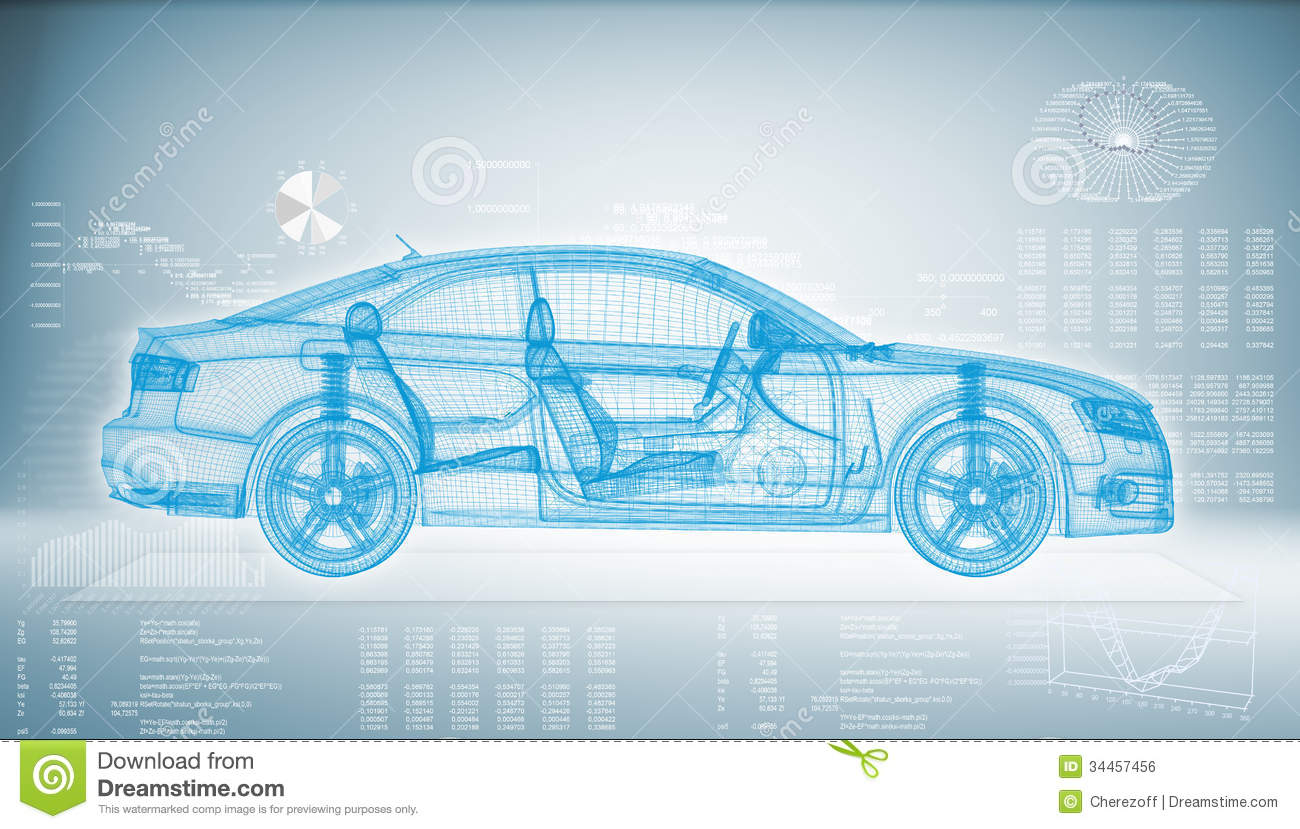 Hi tech Car On A Blue Background Royalty Free Stock Image