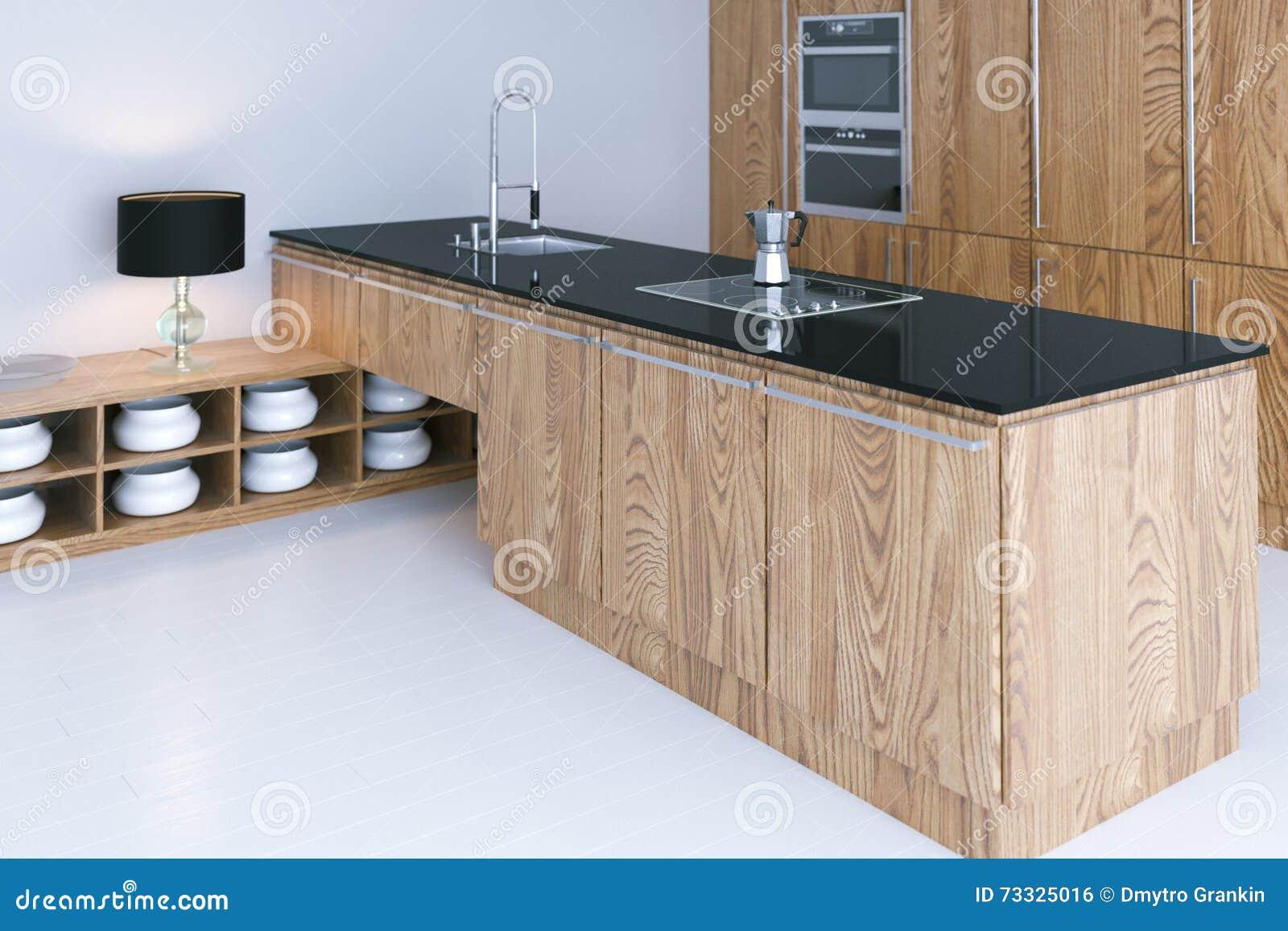 Hi tech geeft het keuken binnenlandse ontwerp met witte 3d bevloering terug stock foto - Keuken met teller ...