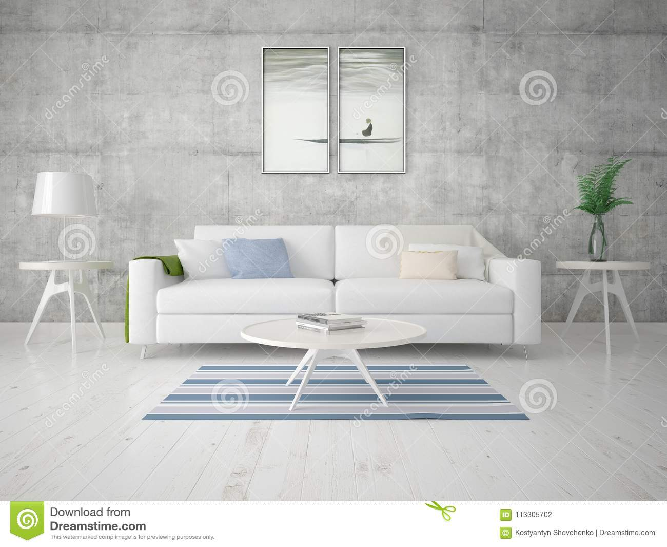 Hi tech living room with modern functional furniture and trendy background