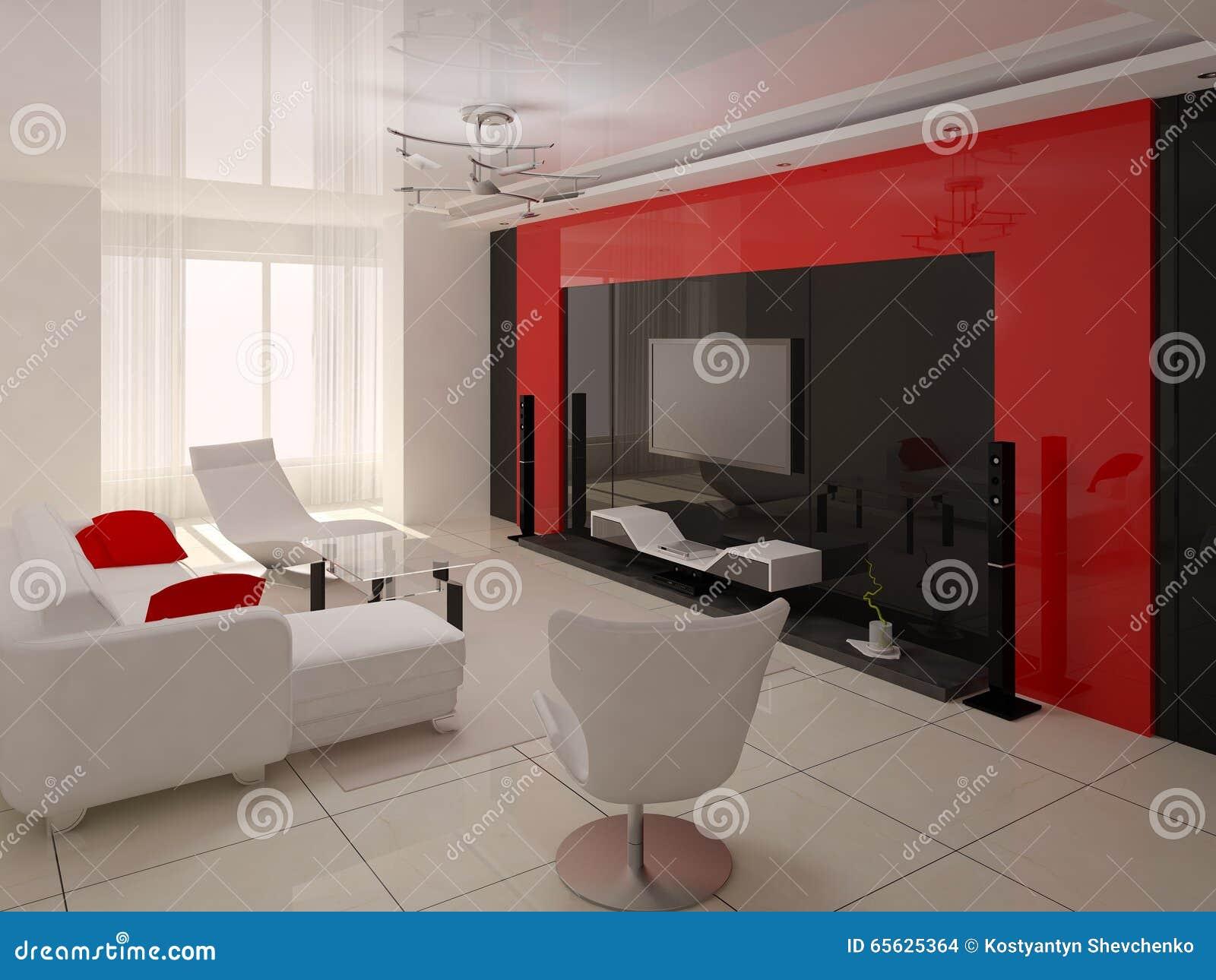 Hi-tech Living Room. Stock Illustration - Image: 65625364